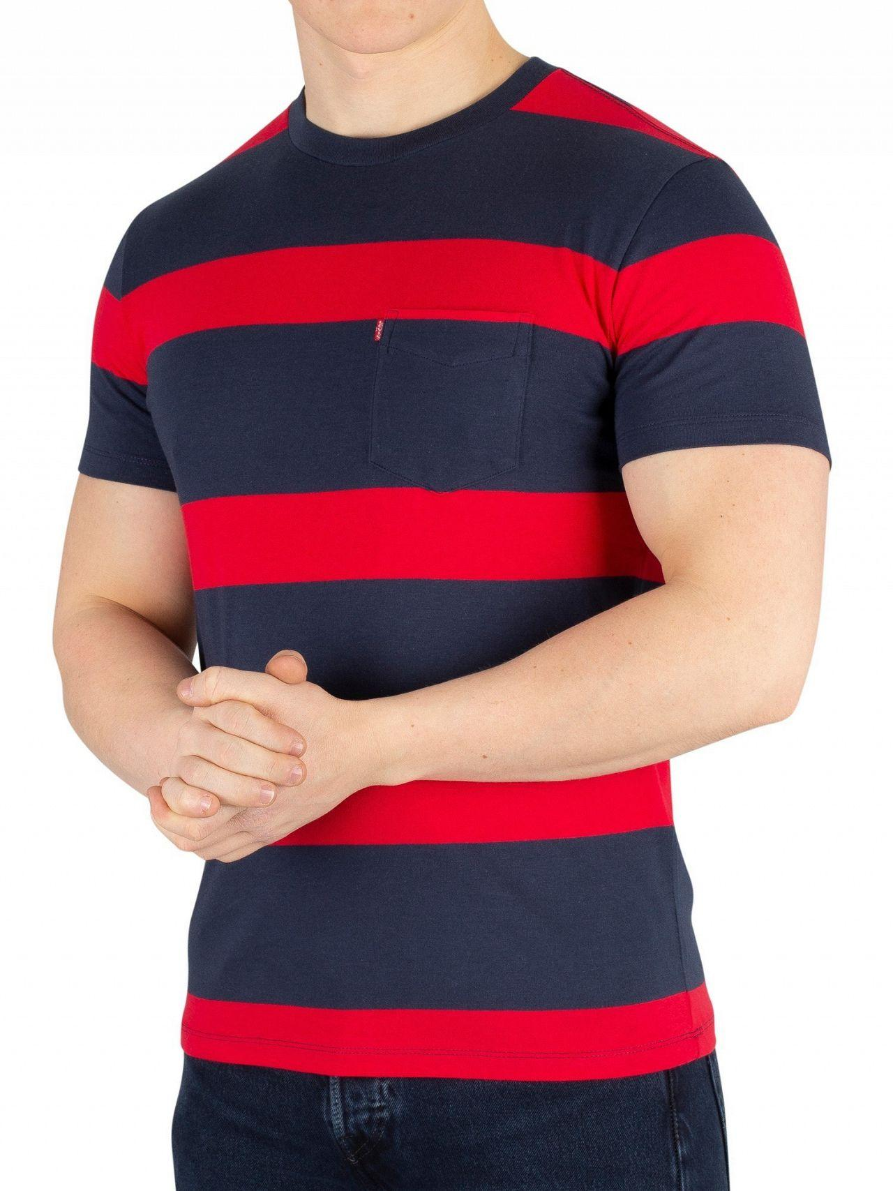 883132ec Lyst - Levi's Boink Stripe Setin Sunset Pocket T-shirt for Men