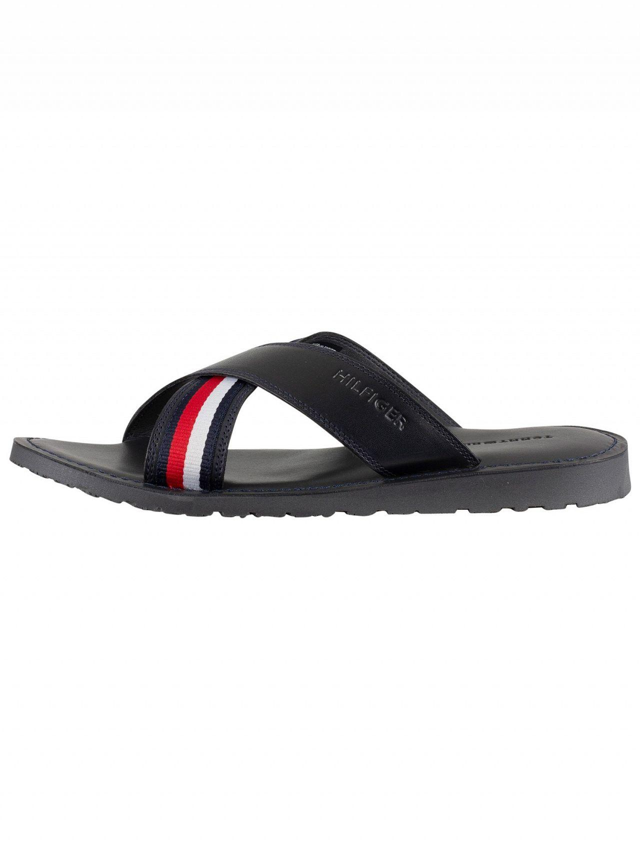 116605a12ab20 Tommy Hilfiger Midnight Criss Cross Leather Sandals in Blue for Men - Lyst