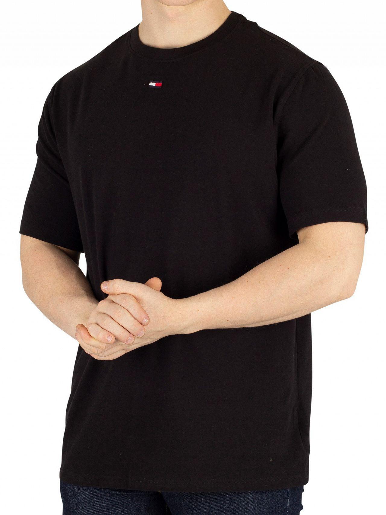 Black Tommy Hilfiger Mens Middle Logo T-Shirt