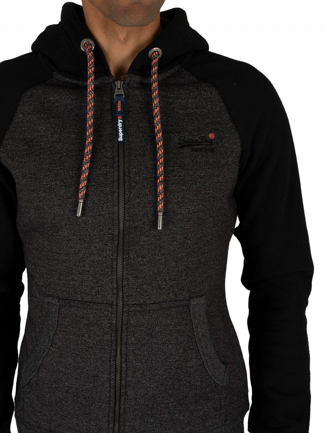 b7c0ae5c39683 Superdry Low Light Black Grit Orange Label Raglan Zip Hoodie in Black for  Men - Lyst