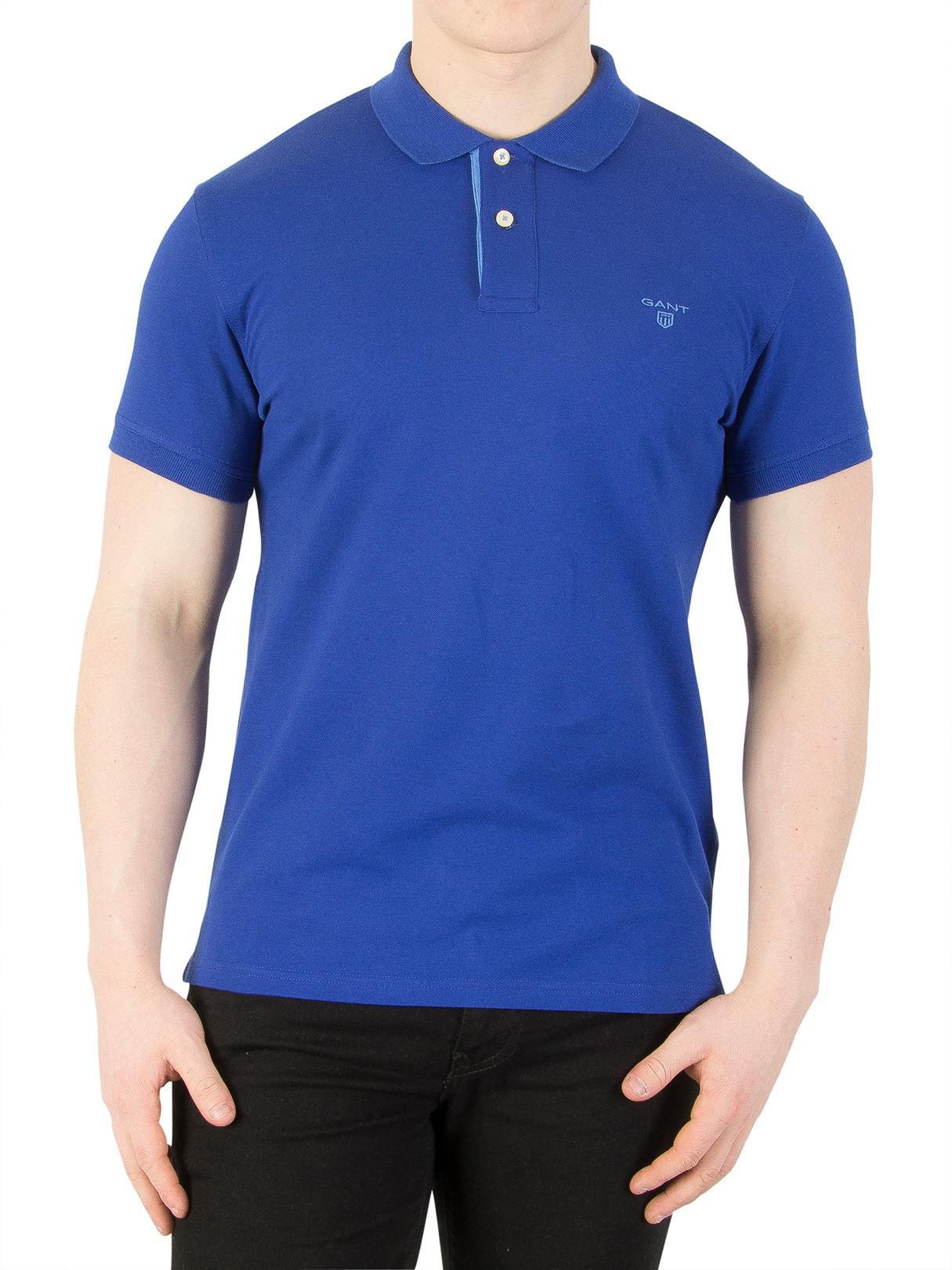 Contrast Shirt Collar Rugger Blue In Logo Yale Gant Pique Polo qSMVzpUG