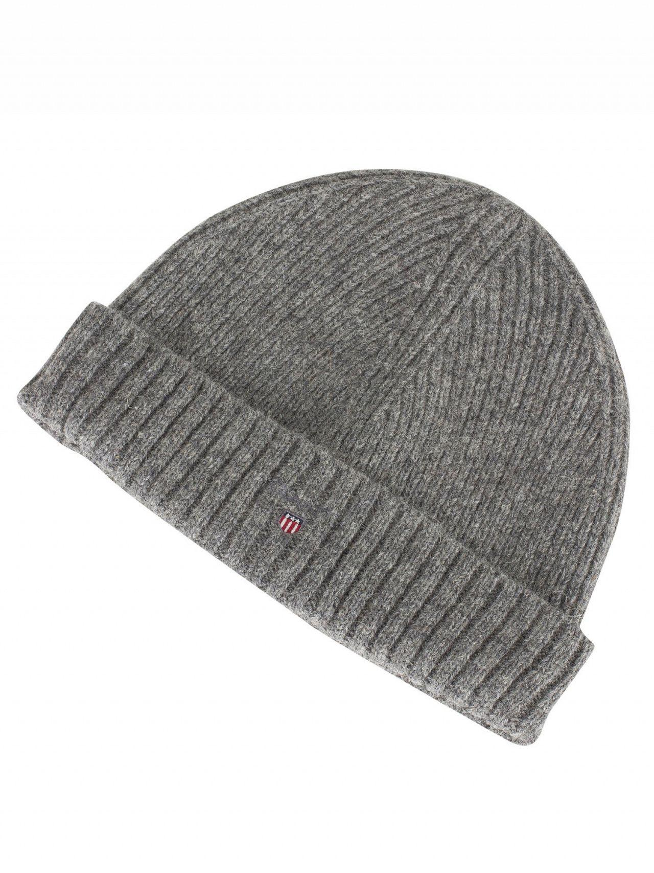 22f84a8fe21 Gant Dark Grey Melange Wool Lined Beanie in Gray for Men - Lyst