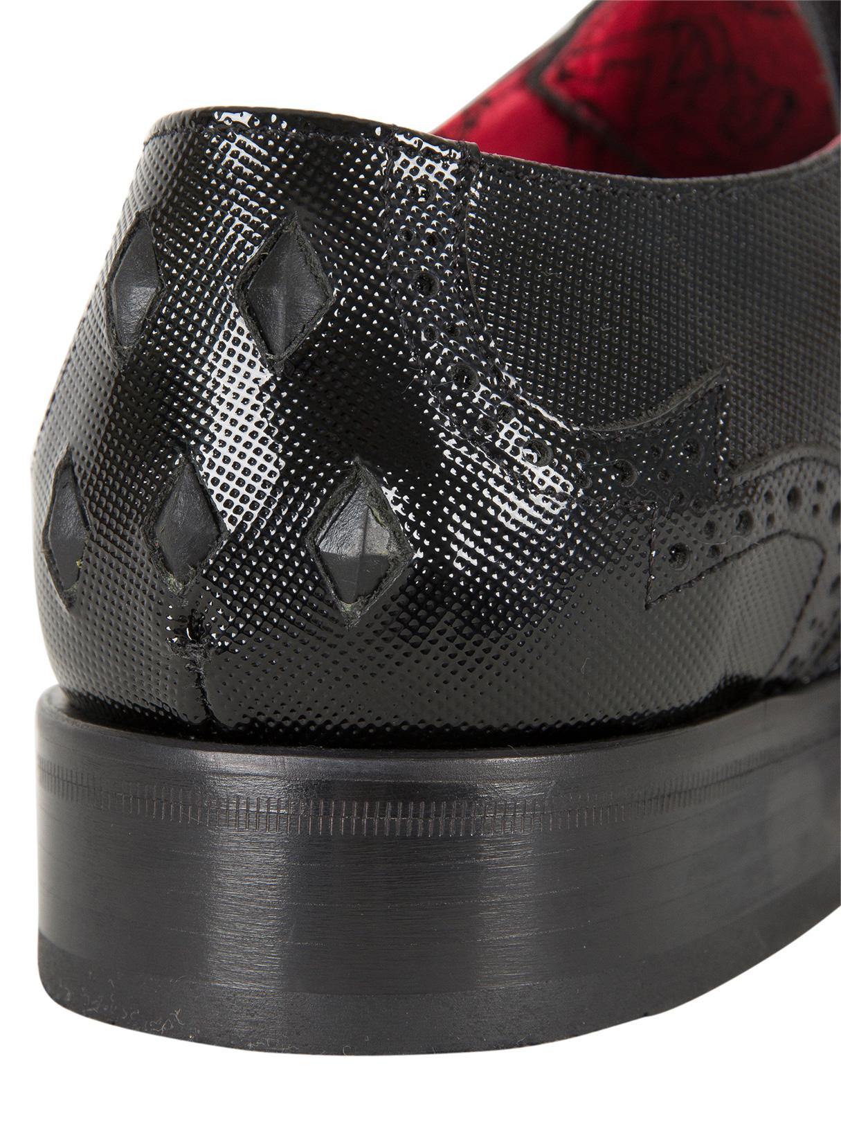 Jeffery West Leather Charcoal Black Yardb Printed Shoes for Men