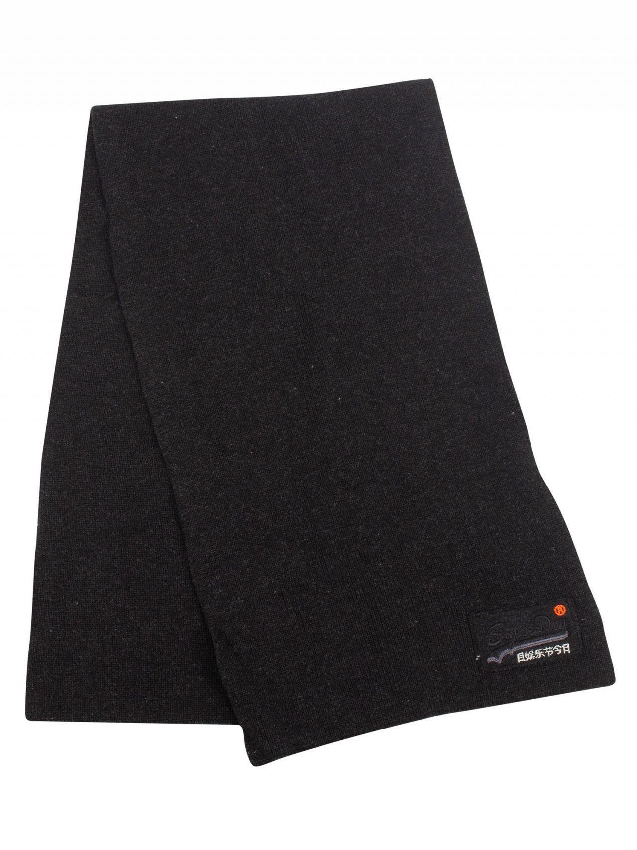 Superdry Men/'s Orange Label Cotton Scarf Black Charcoal Grit One Size