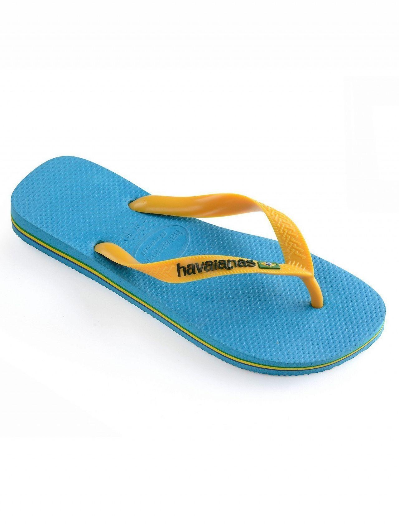 b6e4e6b42 Havaianas Turquoise yellow Brasil Logo Flip Flops in Blue for Men - Lyst