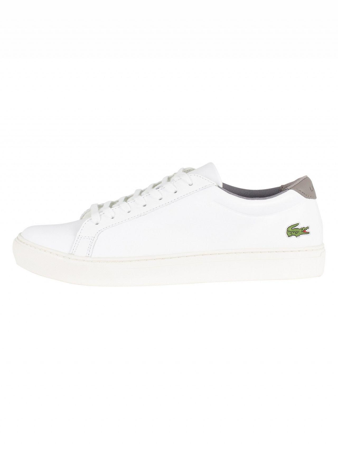 8d5acb504 Lacoste White grey L.12.12 317 4 Cam Leather Trainers in White for Men -  Lyst