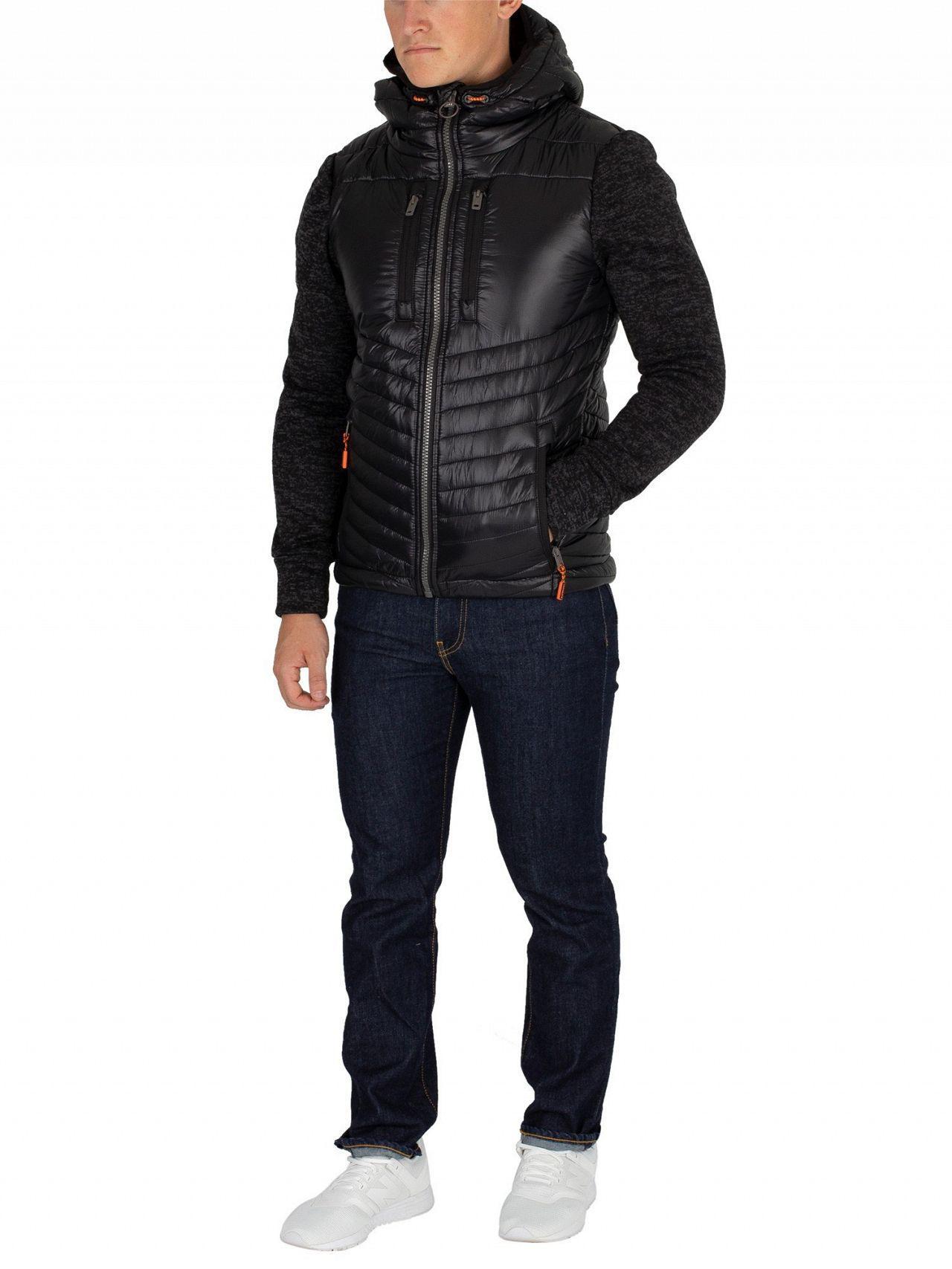 Superdry Storm Hybrid Zip Hoodie Black Granite Marl Jacket