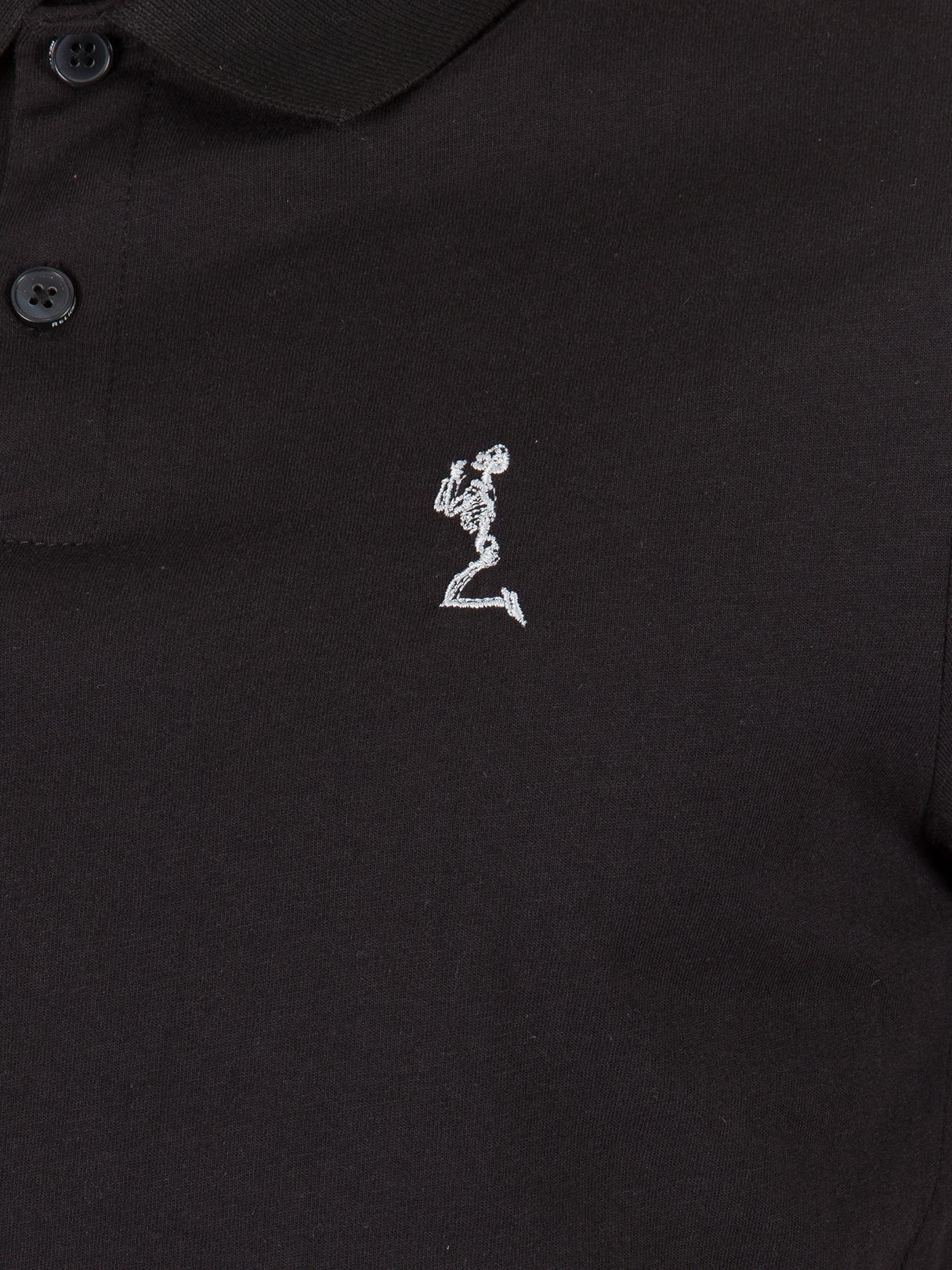 Religion Cotton Black Curved Hem Logo Polo Shirt for Men