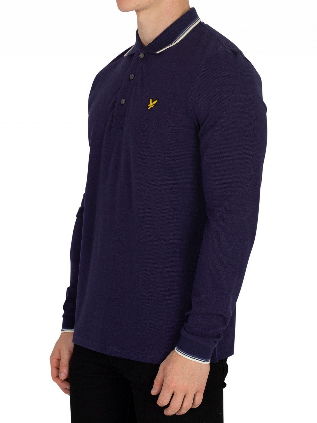 581552808c4 Lyle   Scott Navy Longsleeved Tipped Poloshirt in Blue for Men - Lyst