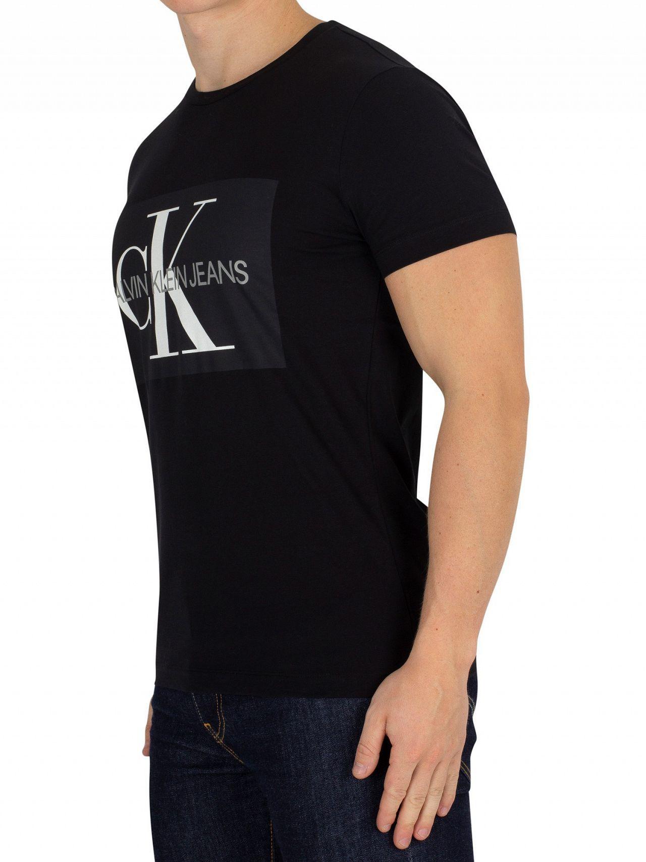 c02f29fde50a Lyst - Calvin Klein Black Monogram Box T-shirt in Black for Men - Save 31%