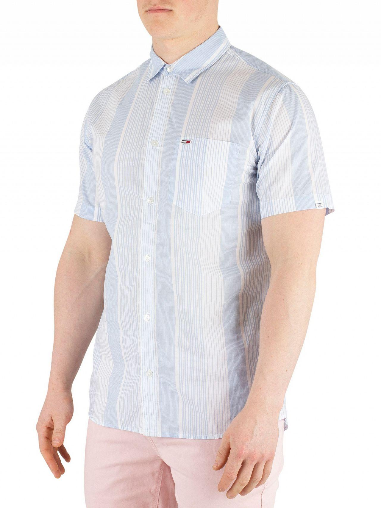 57b0e3f8 Tommy Hilfiger. Men's Light Blue/classic White Striped Poplin Short Sleeved  Shirt
