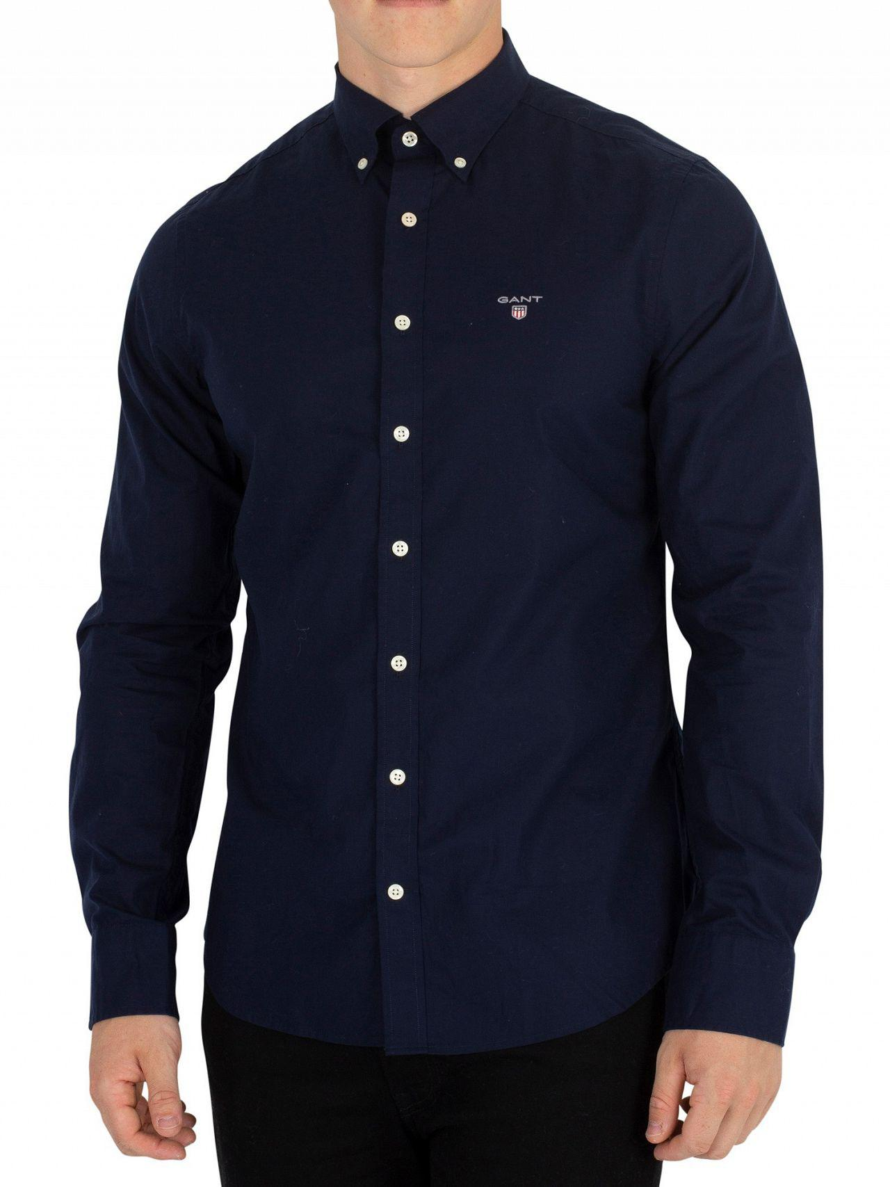 Lyst Män Skjorta Gant The Marine För Blue Slim Broadcloth qBx86w0 ca9a45a1cbfc3