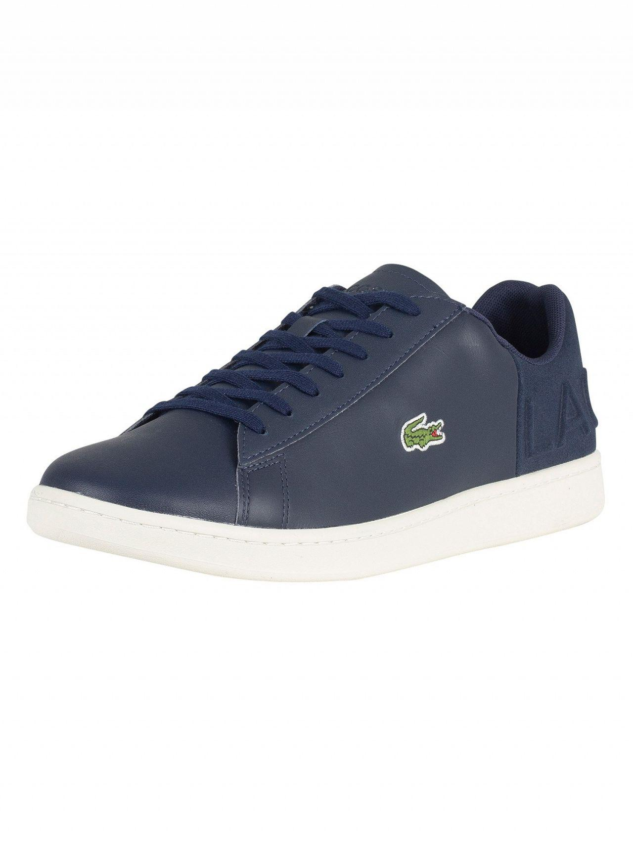 4cc5ac021626d1 Lacoste Navy off White Carnaby Evo 418 1 Spm Leather Trainers in ...