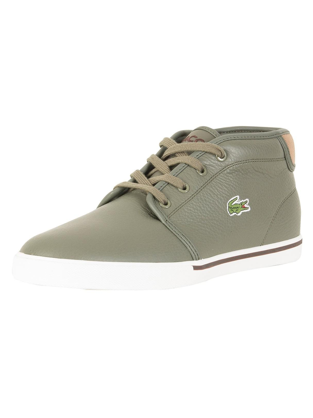 Lacoste Sneakers Ampthill 118 CAM Casual Fashion Shoes Leather Olive Green New