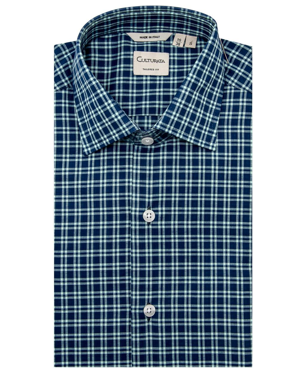 Culturata Navy And White Plaid Dress Shirt In Blue For Men