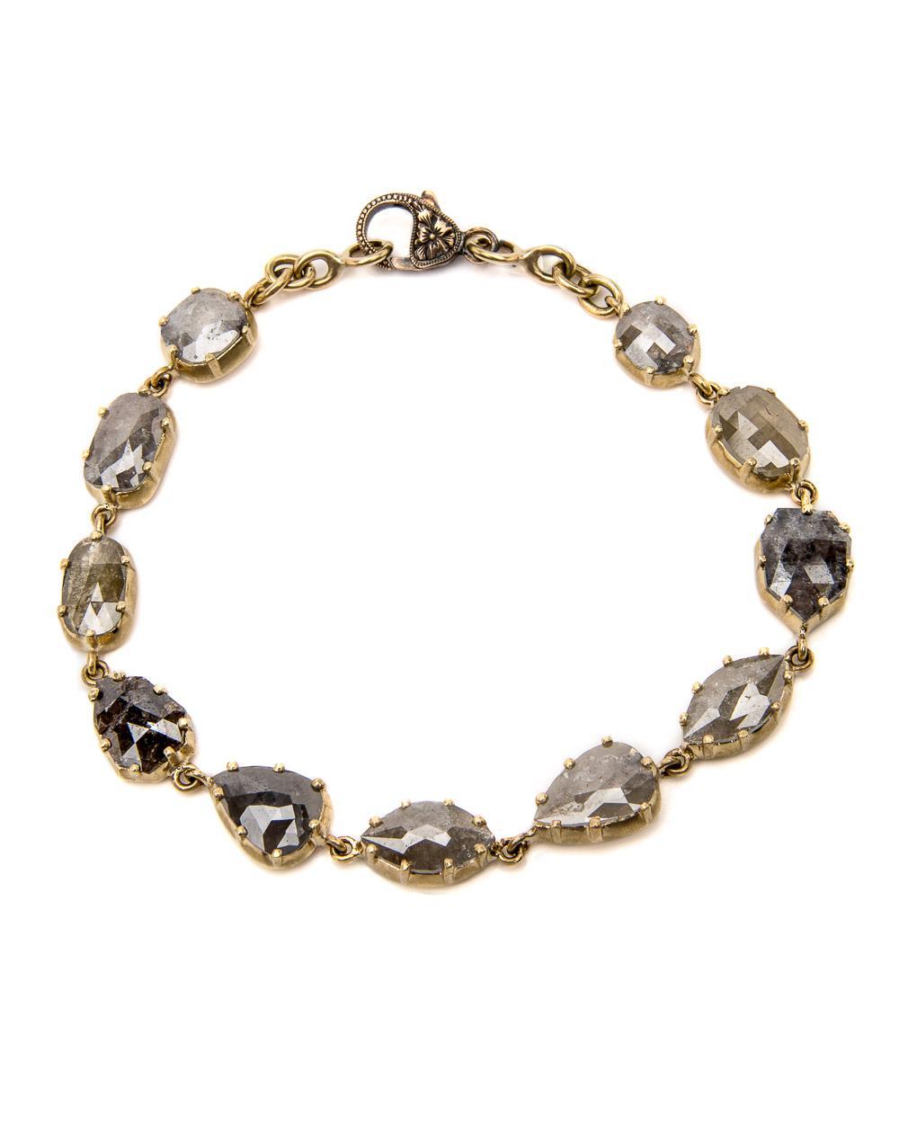 Sylva Cie Women S Metallic Mixed Rough Cut Diamond Bracelet
