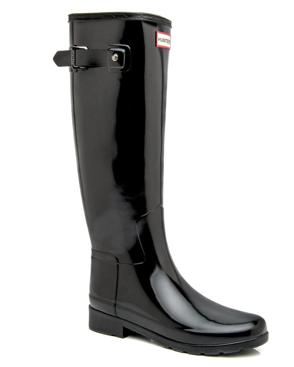1d0750c3b3e Lyst - Hunter Black Original Refined Gloss Rain Boot in Black