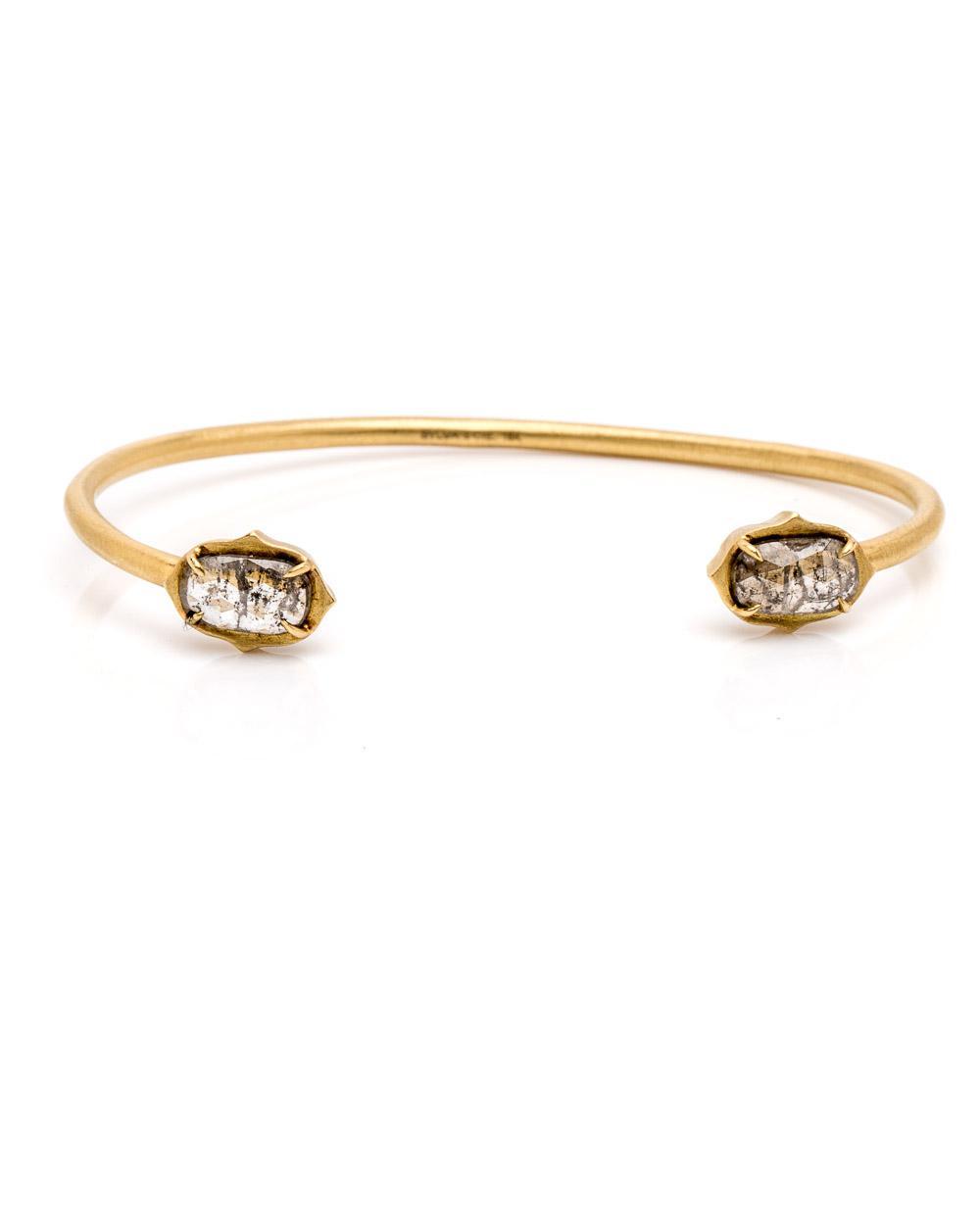Sylva Cie Women S Metallic Rough Cut Diamond Cuff