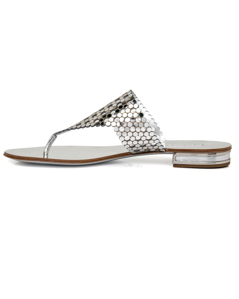 67f0bf6b1 Casadei - Metallic Isa Flat Thong Sandal In Silver - Lyst. View fullscreen