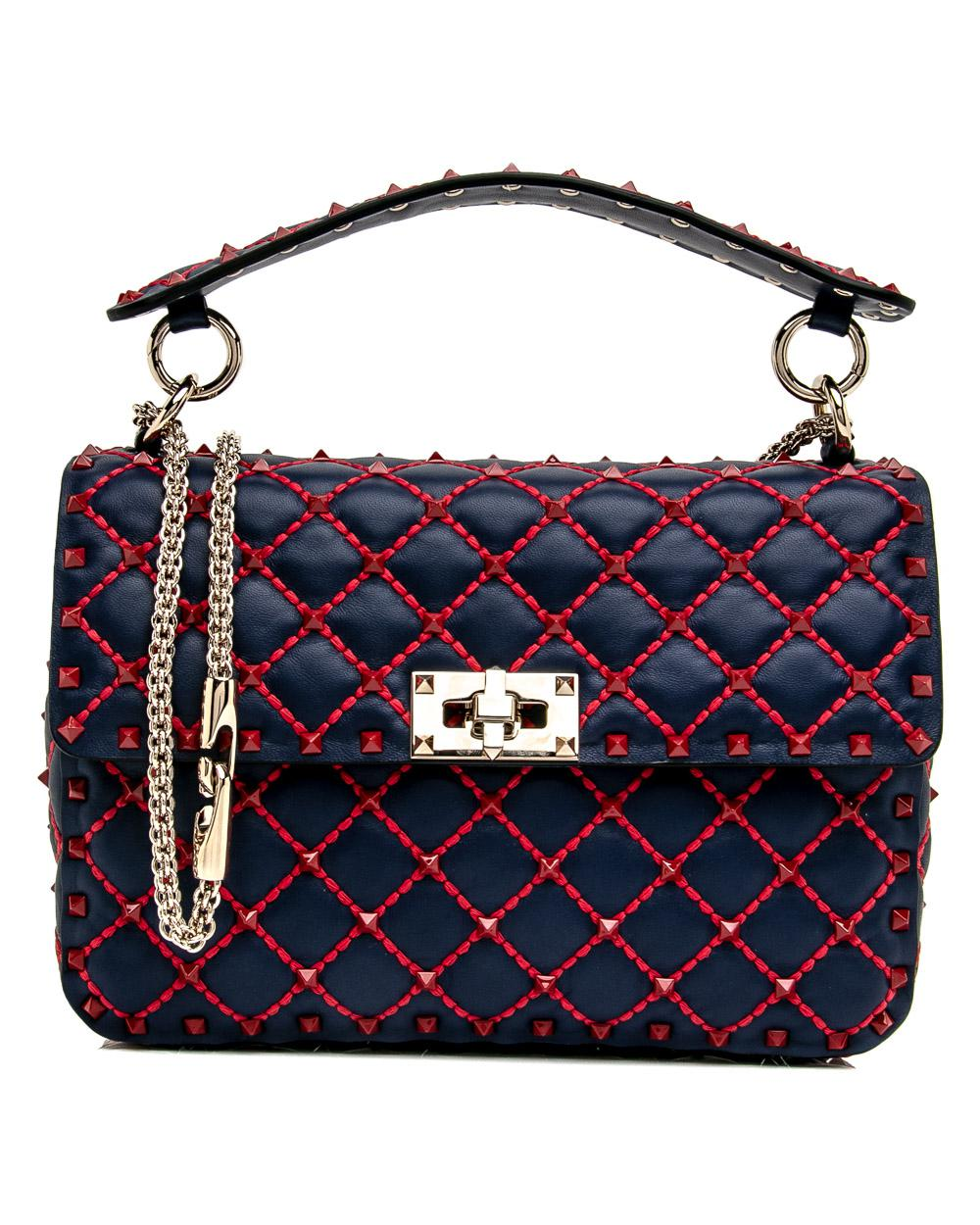 cee05d341139 Lyst - Valentino Medium Blue And Red Rockstud Spike Chain Bag in Blue