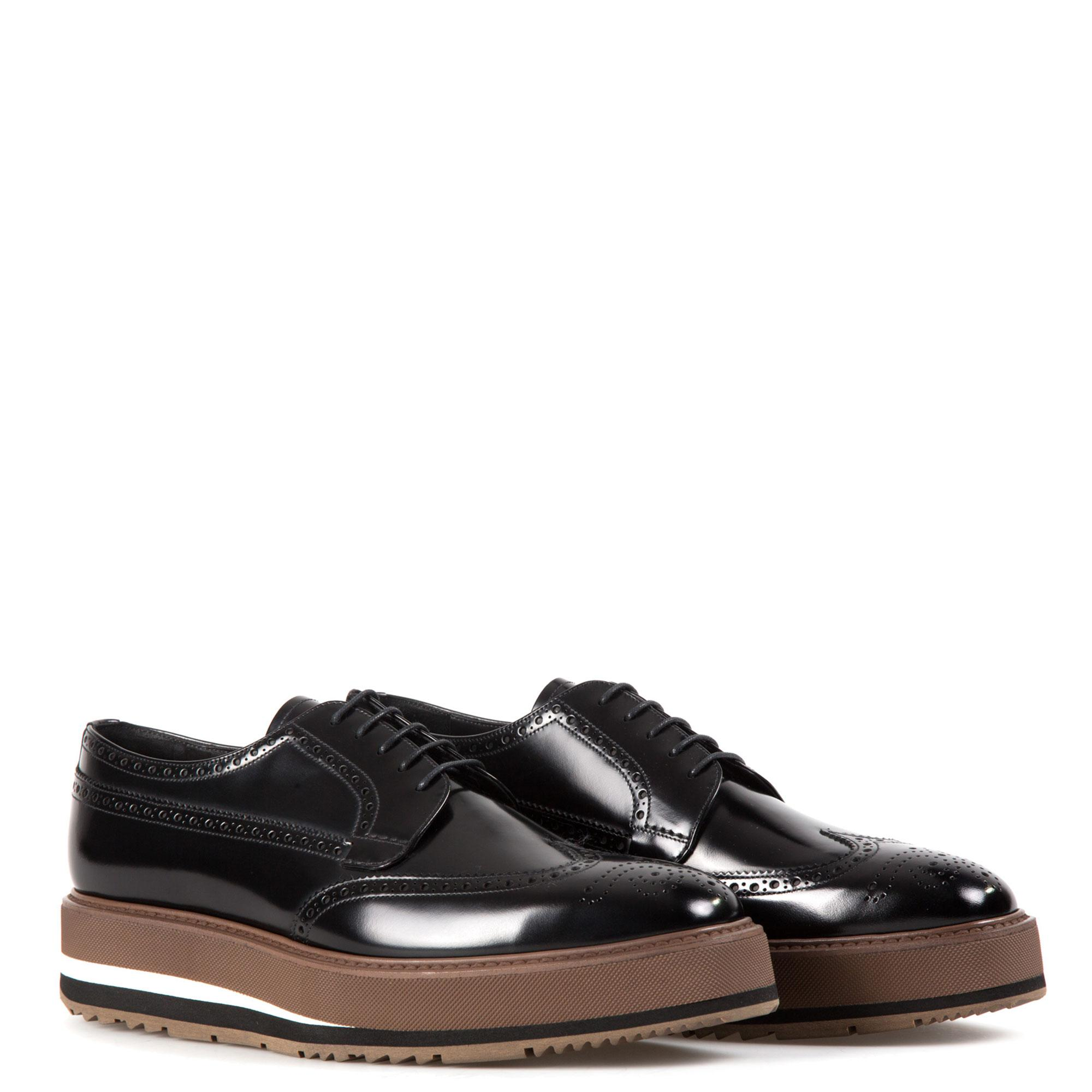 Prada Leather Derby Shoes With Platform in Black for Men