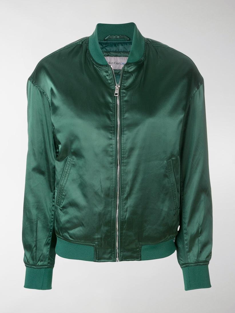 Calvin Klein Satin Bomber Jacket In Green Lyst
