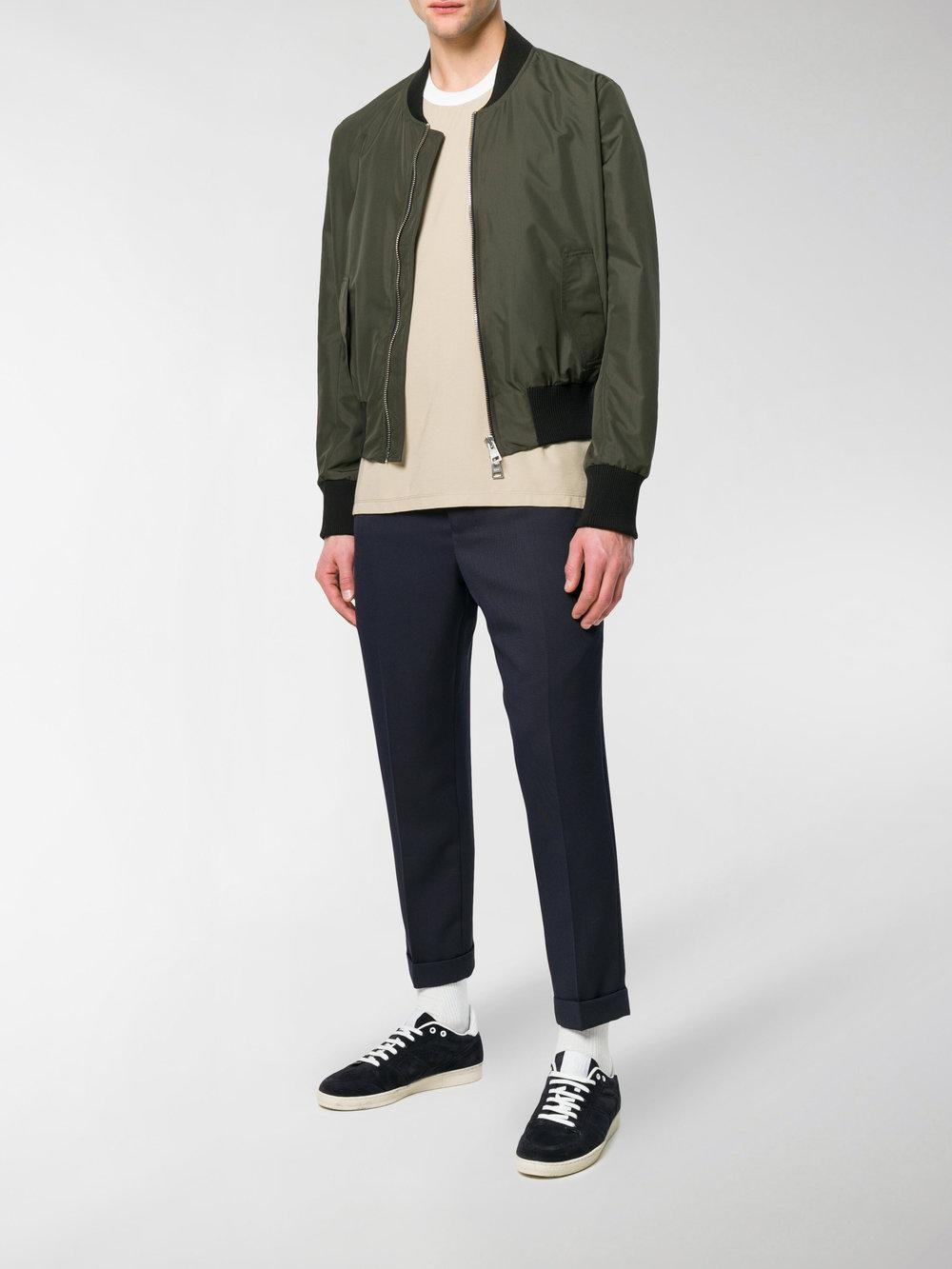AMI Synthetic Bomber Jacket in Green for Men