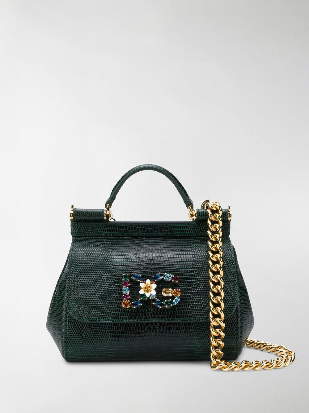 Lyst - Dolce   Gabbana Small Sicily Shoulder Bag in Green 4aec67a5af