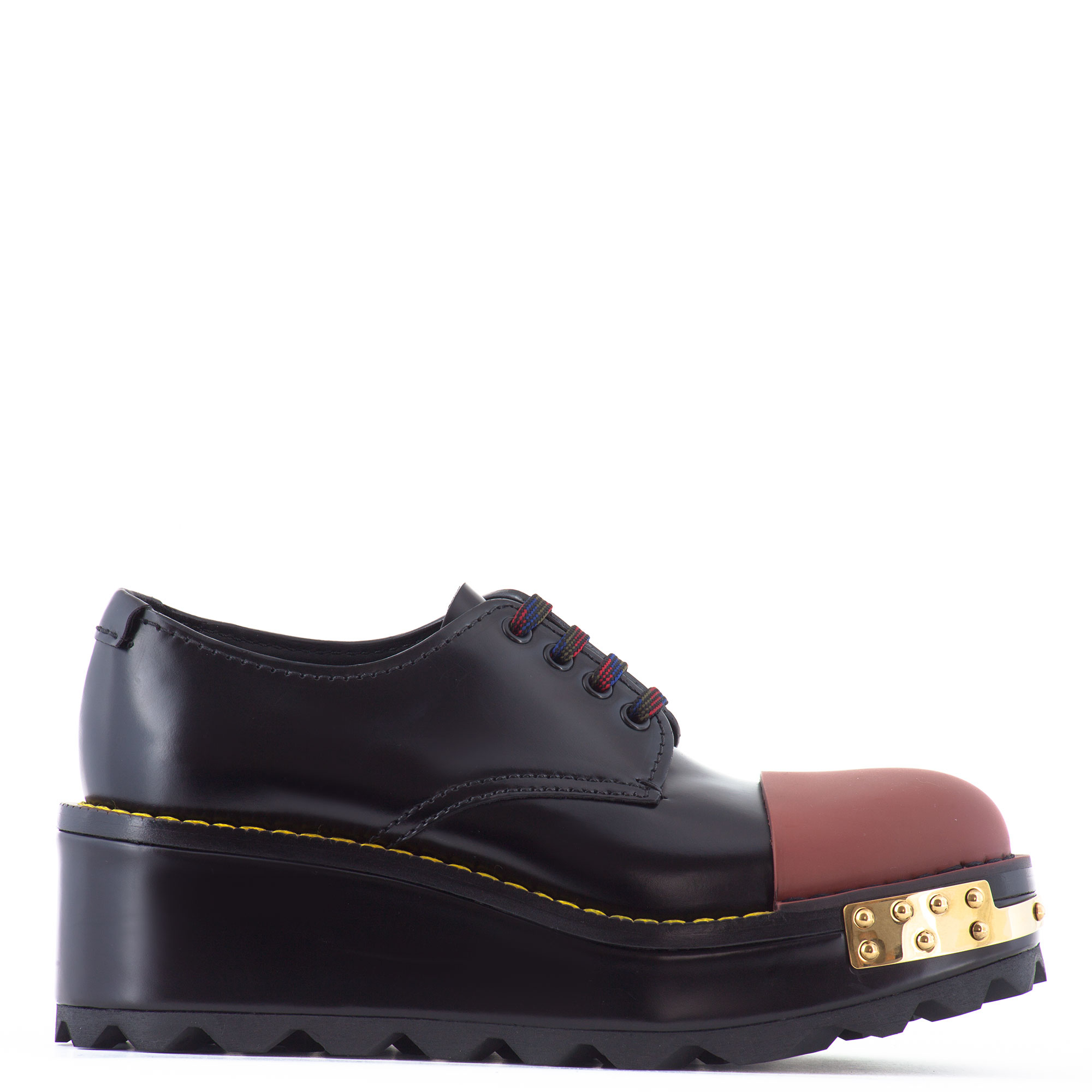 prada leather derby shoes with platform in black lyst
