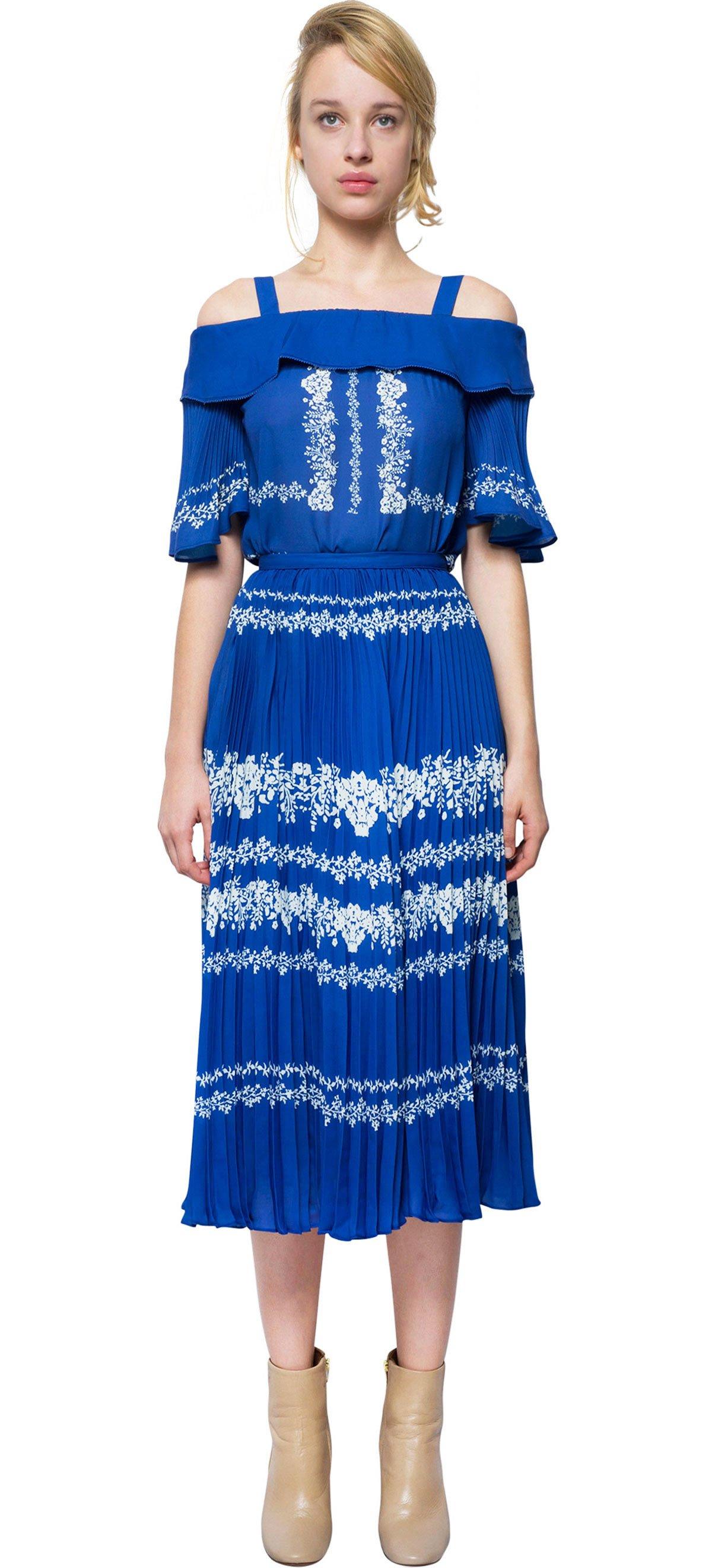 Self-portrait Pleated Skirt Print in Blue (BLUE/plain)