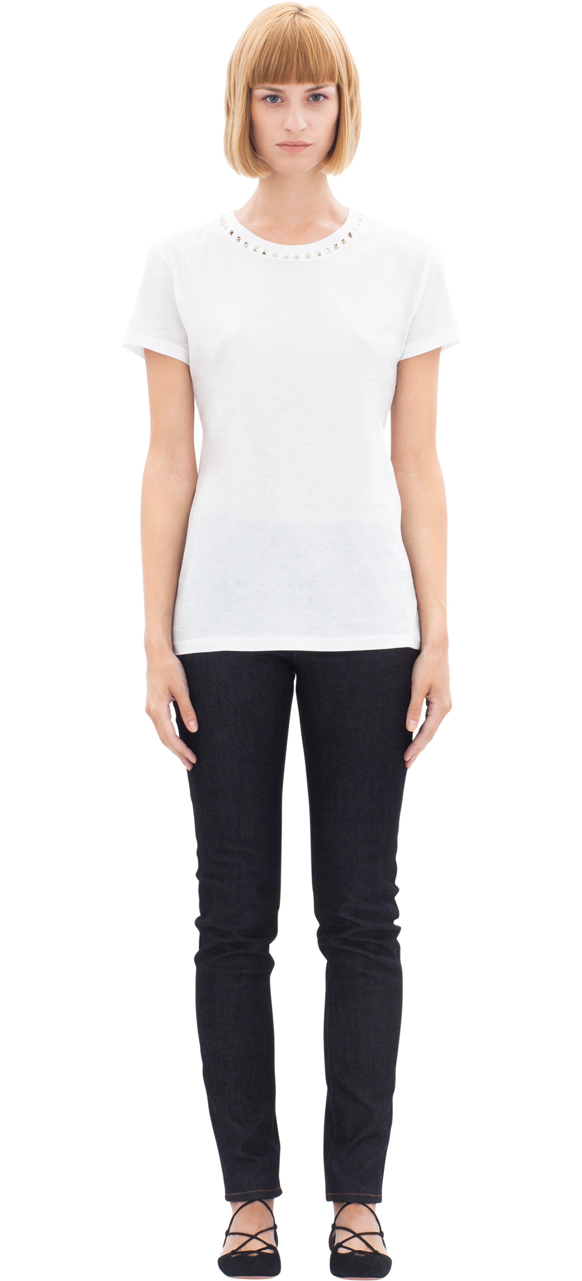 Valentino t shirt w studs around collar in black lyst for Dress shirt studs uk