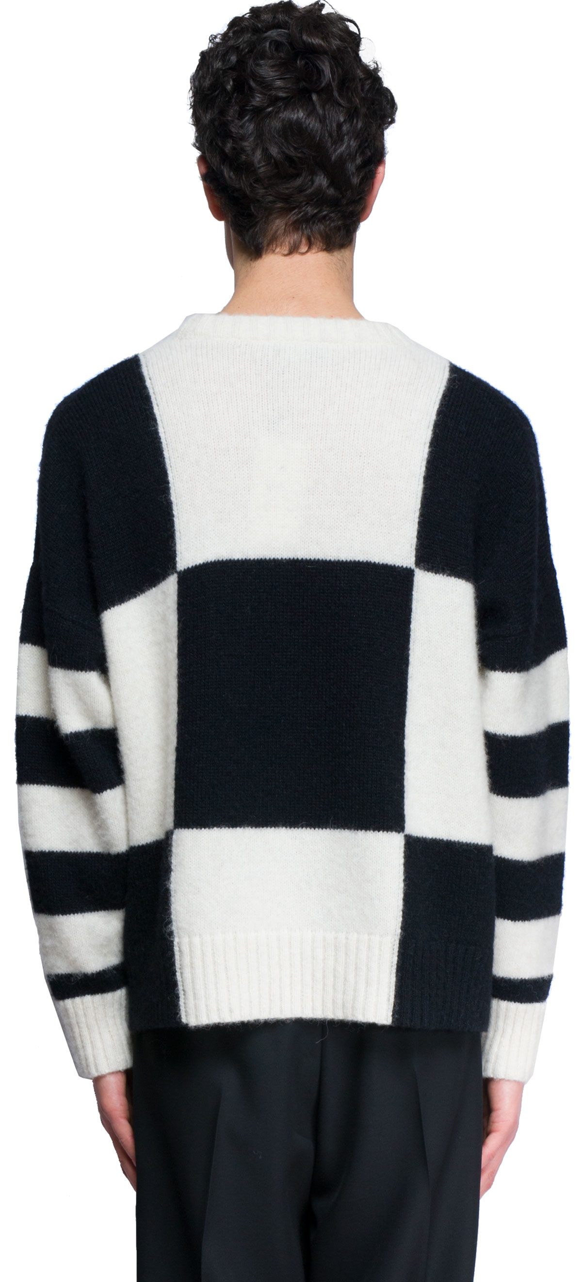 AMI Synthetic Oversized Crew Neck Sweater in Black/White (Black) for Men