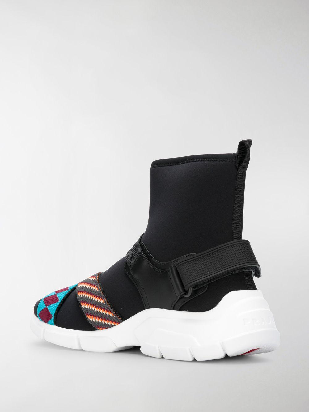 Prada Woven-trimmed Neoprene High-top Sneakers Black