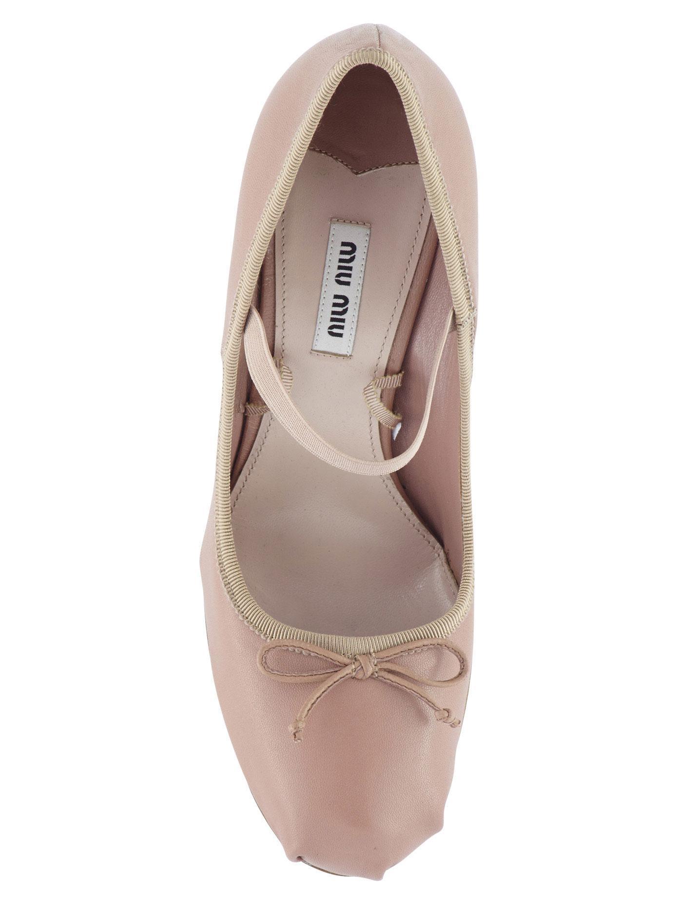 43980f0f090 Lyst - Miu Miu 85mm Leather High Heel Ballet Pump in Natural