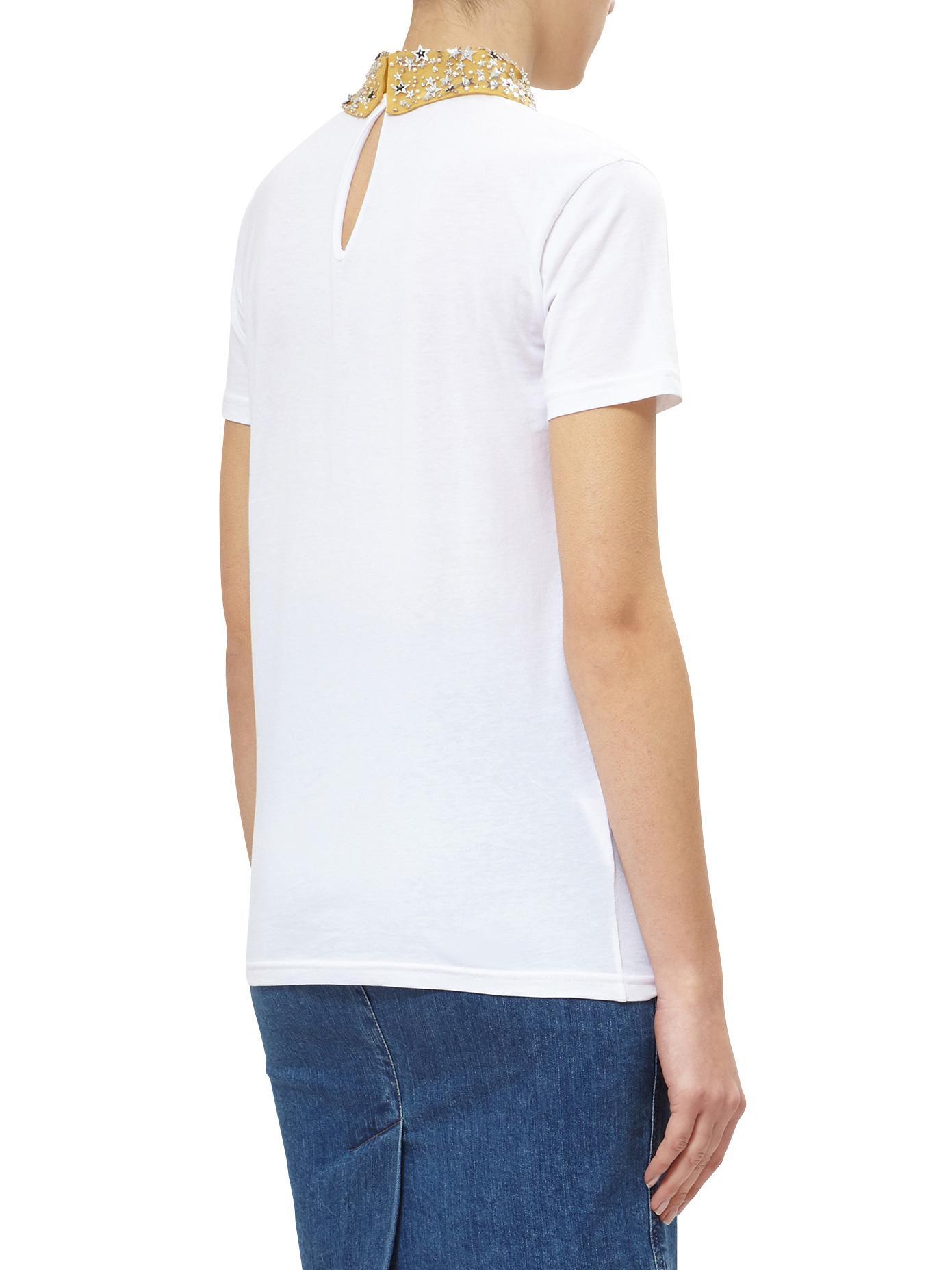 Lyst miu miu cotton t shirt with star collar in white for Miu miu t shirt