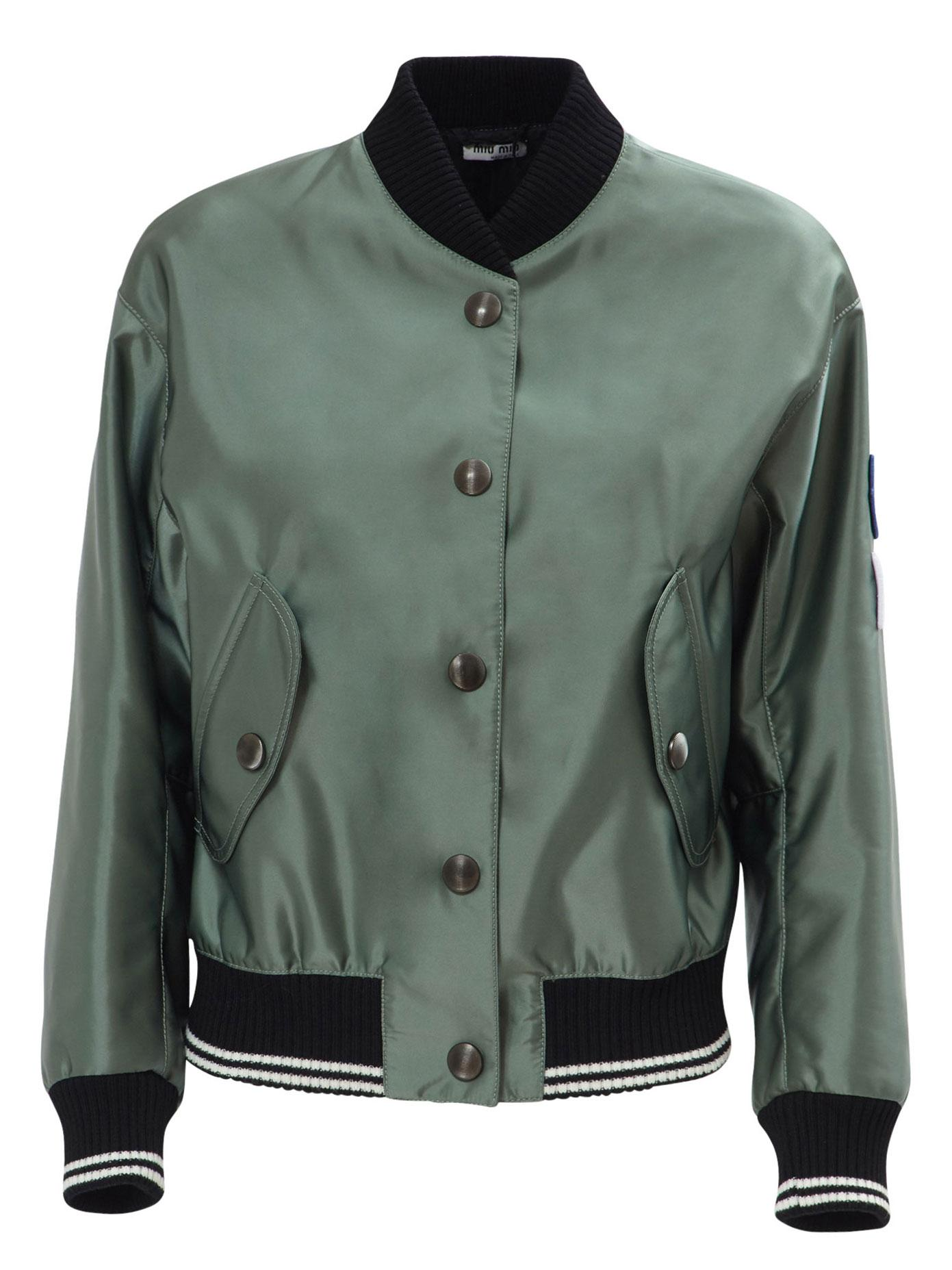 Lyst Miu Miu Shiny Bomber Jacket With Cat Patch In Green