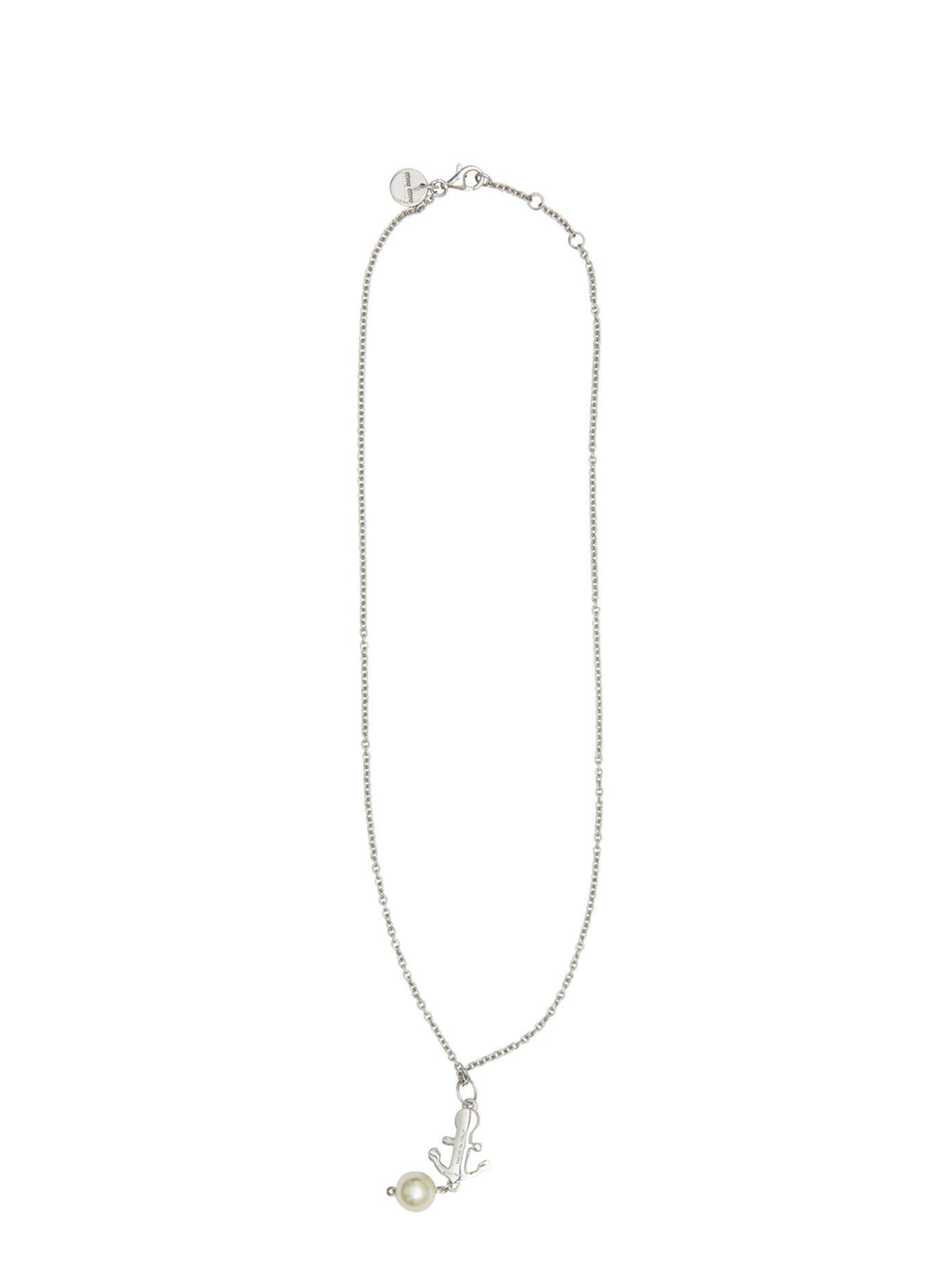 Miu Miu Silver Anchor Necklace in Metallic