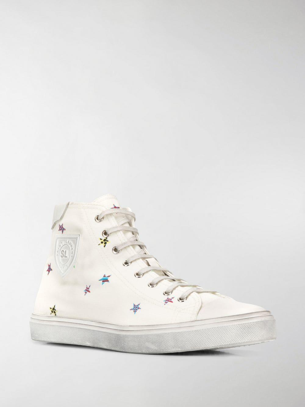 f5e099a7e3 Lyst - Saint Laurent Bedford Star-print Sneakers in White for Men