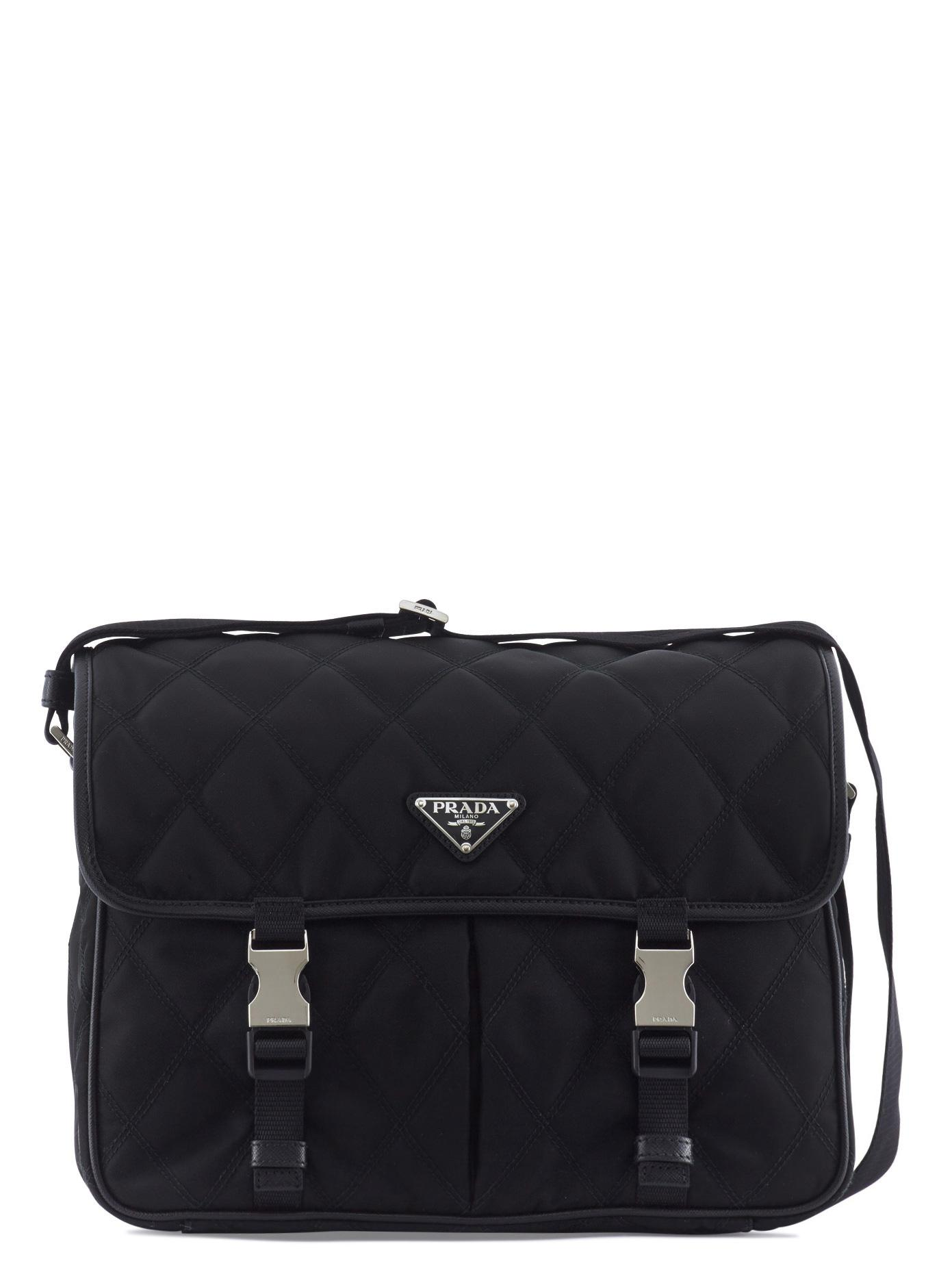 e1258c5eab37 Prada Quilted Nylon And Leather Messenger Bag in Black for Men   Lyst
