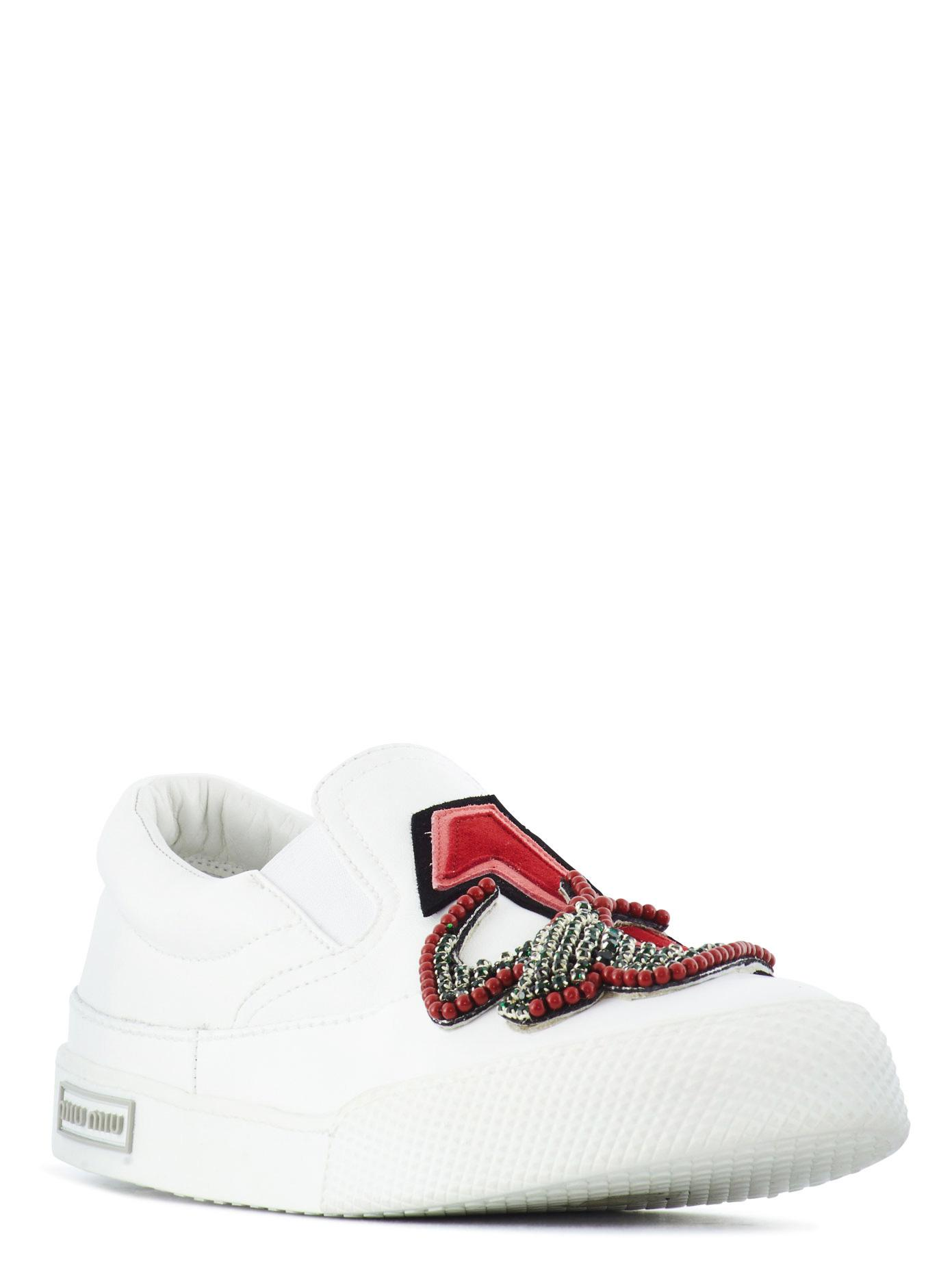 Miu Miu Embroidered Slip On Leather Sneakers in White