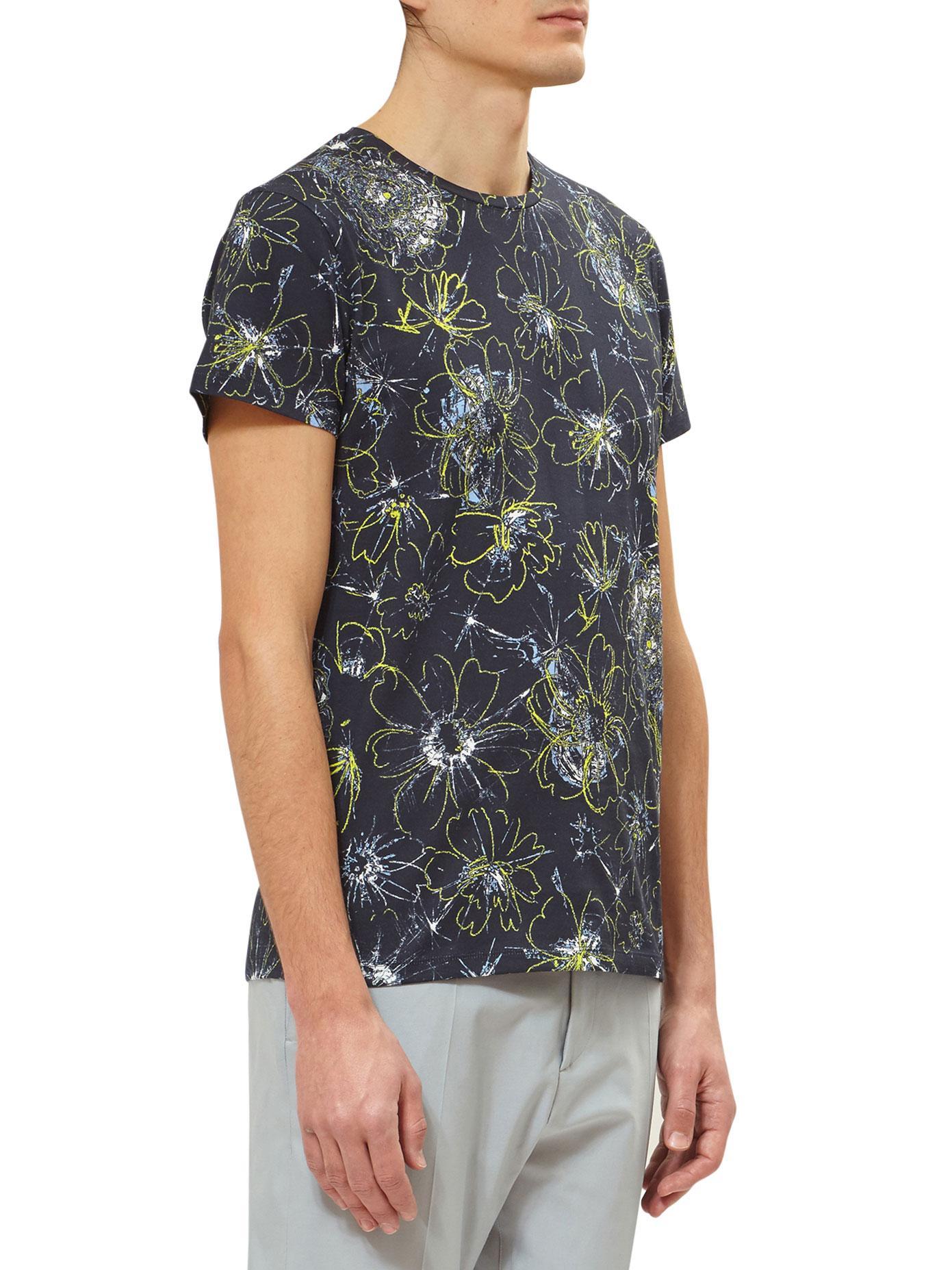 Lyst Jil Sander Printed Cotton T Shirt In Blue For Men