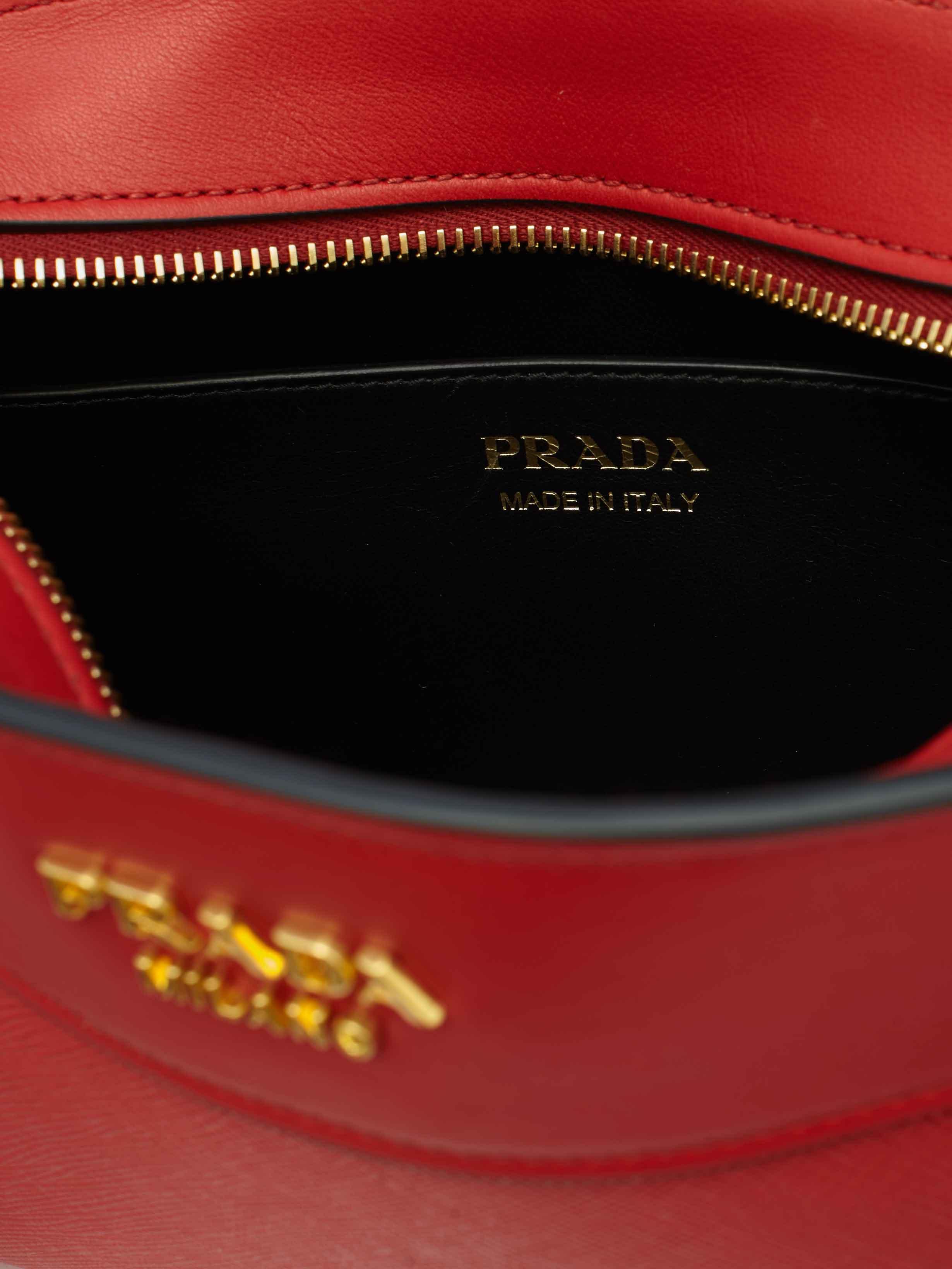 Prada Leather Esplanade Crossbody Bag in Red