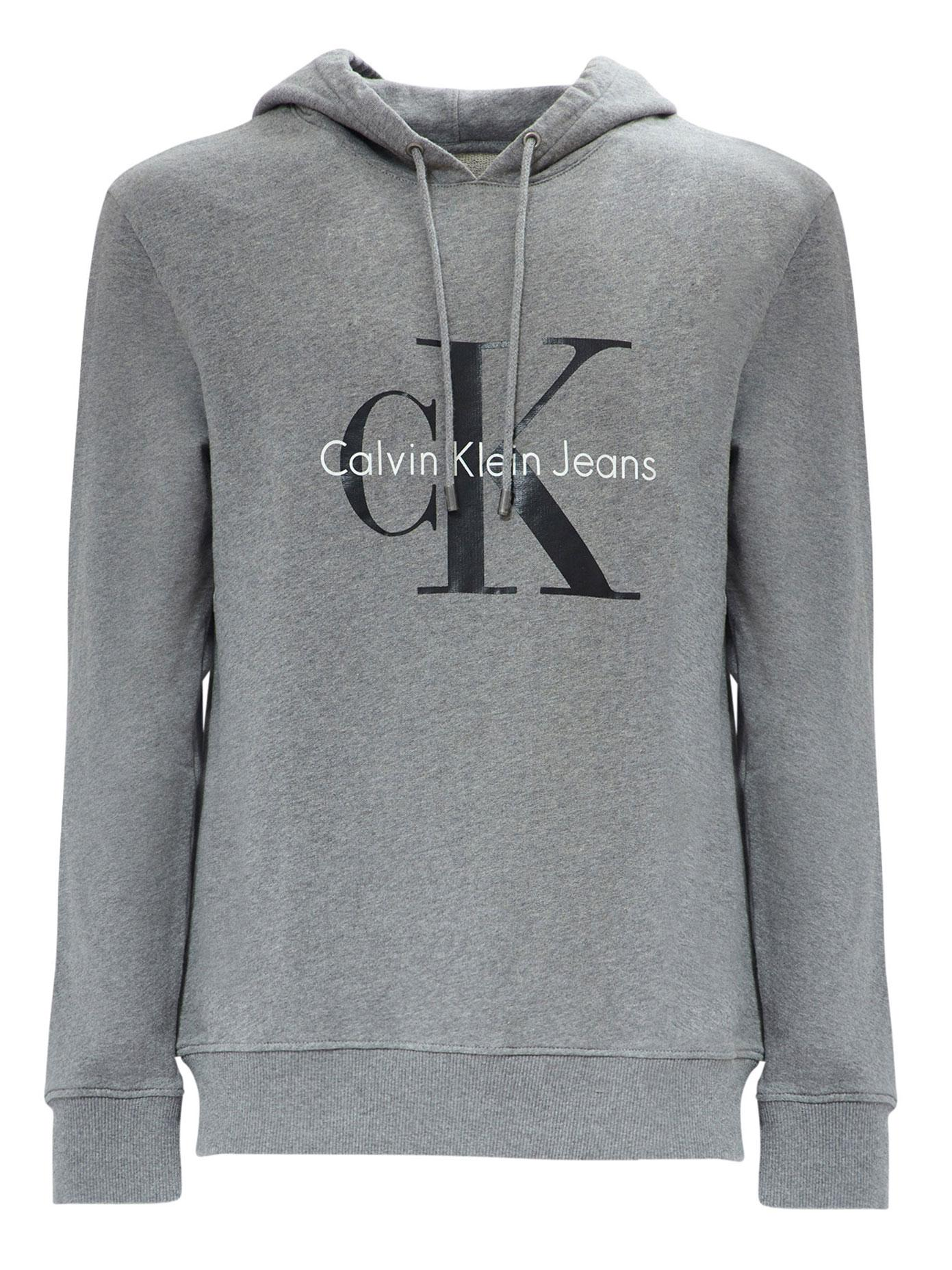 calvin klein jeans logo cotton hoodie in gray for men lyst. Black Bedroom Furniture Sets. Home Design Ideas