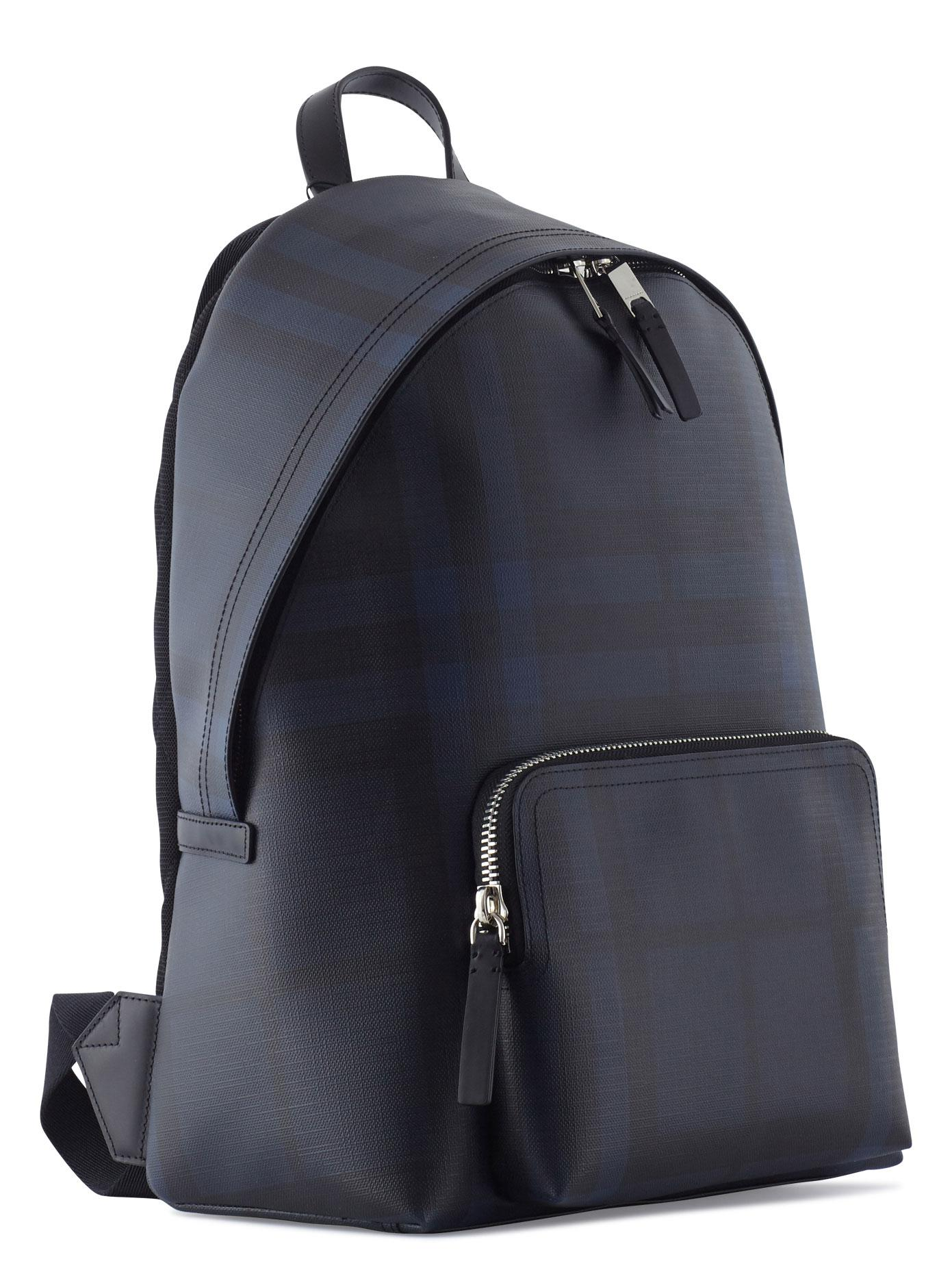 Burberry Leather Abbeydale Backpack in Blue/Checked (Blue) for Men