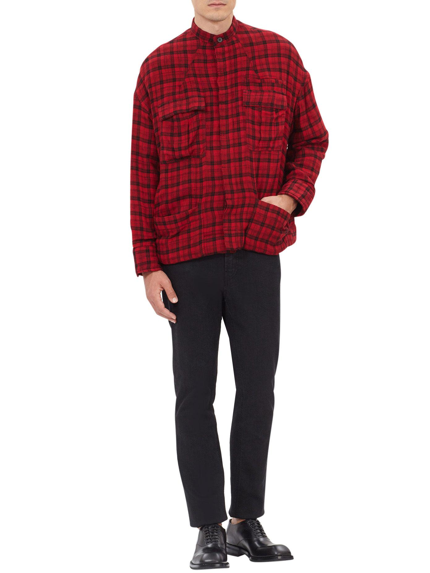 Haider Ackermann Wrinkled Check Wool Shirt in Red/Checked (Red) for Men