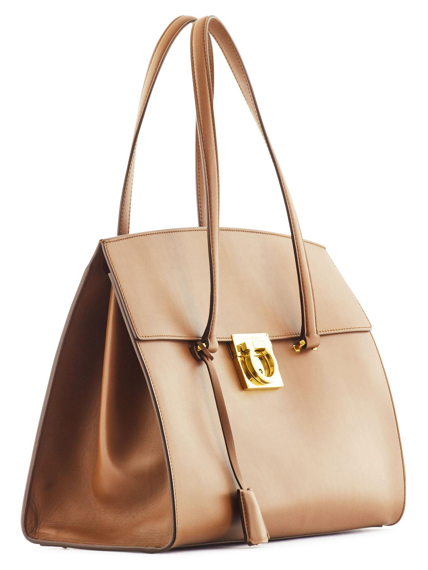 Ferragamo Leather Mara Carry-all Tote Bag in Bronze (Brown)