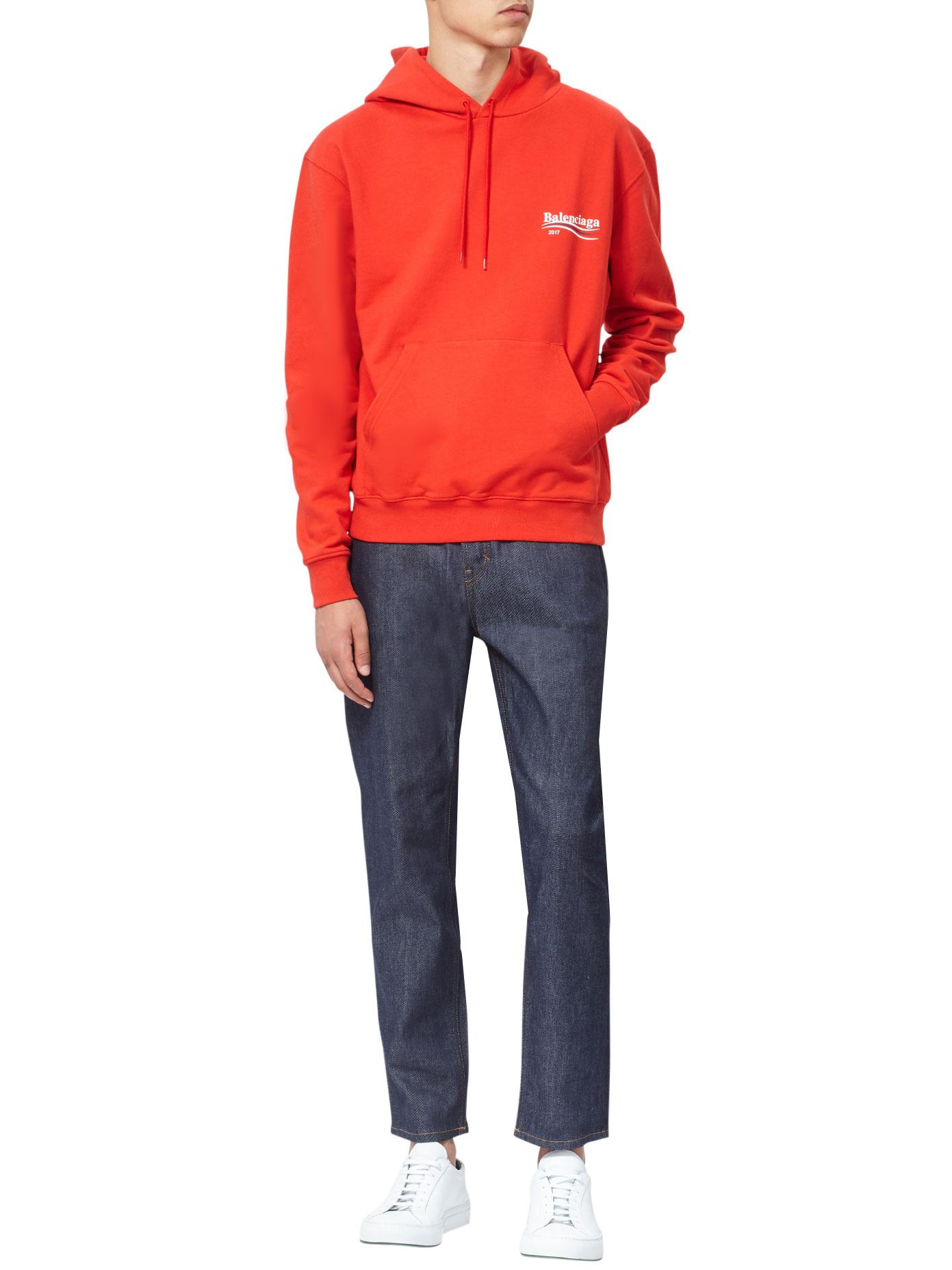 b2f6baebcb2 Lyst - Balenciaga Campaign Logo Cotton Hoodie in Red for Men