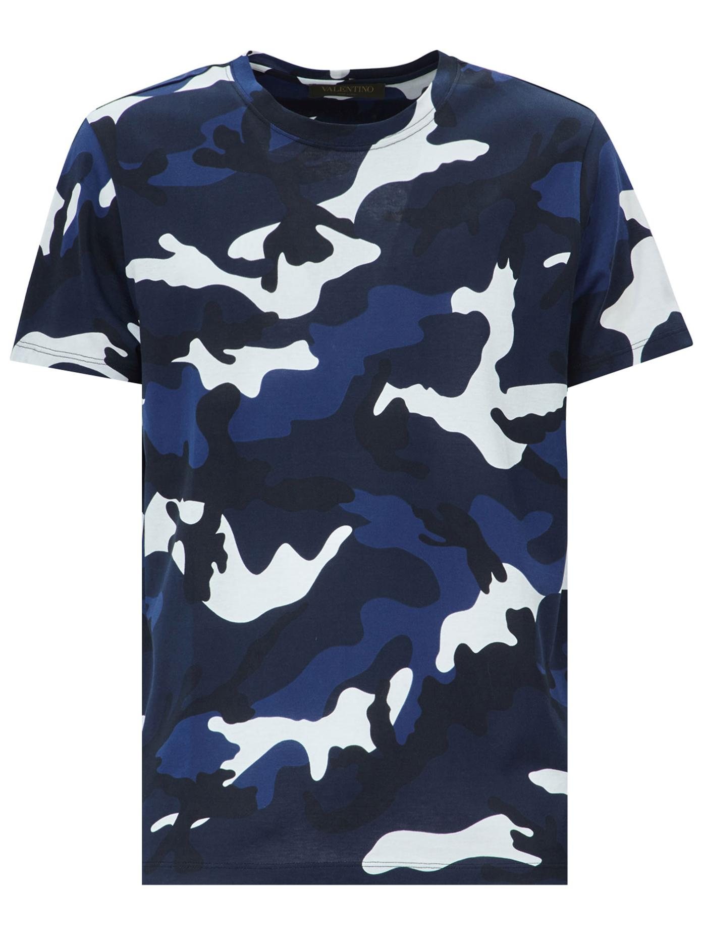 Lyst valentino camo print t shirt in blue for men for Camo print t shirt