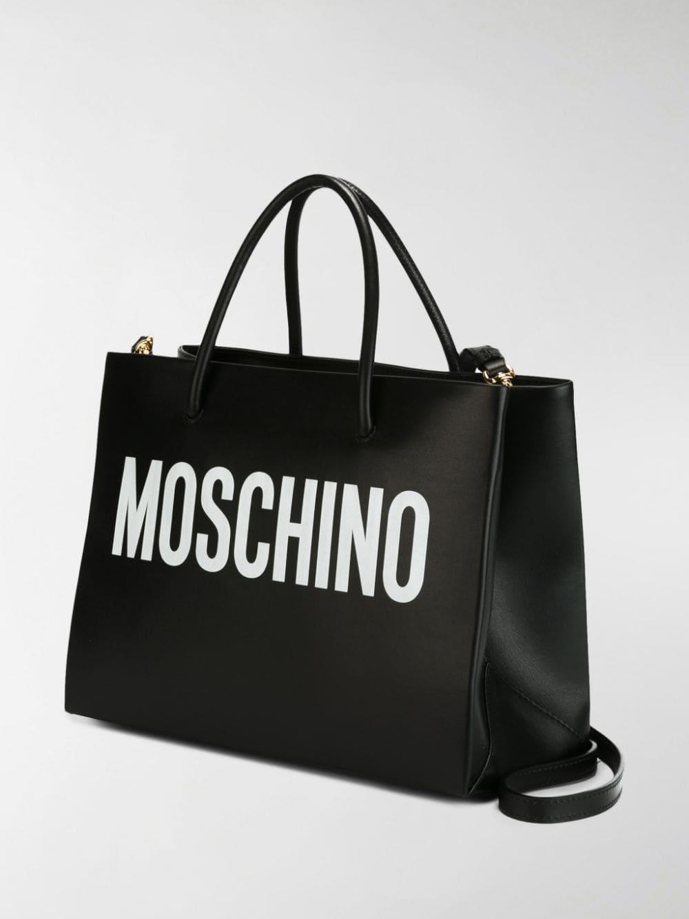 Moschino Logo Print Square Tote in Black