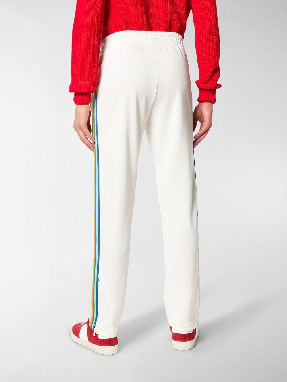 Palm Angels Logo Printed Side Stripe Track Trousers in White for Men